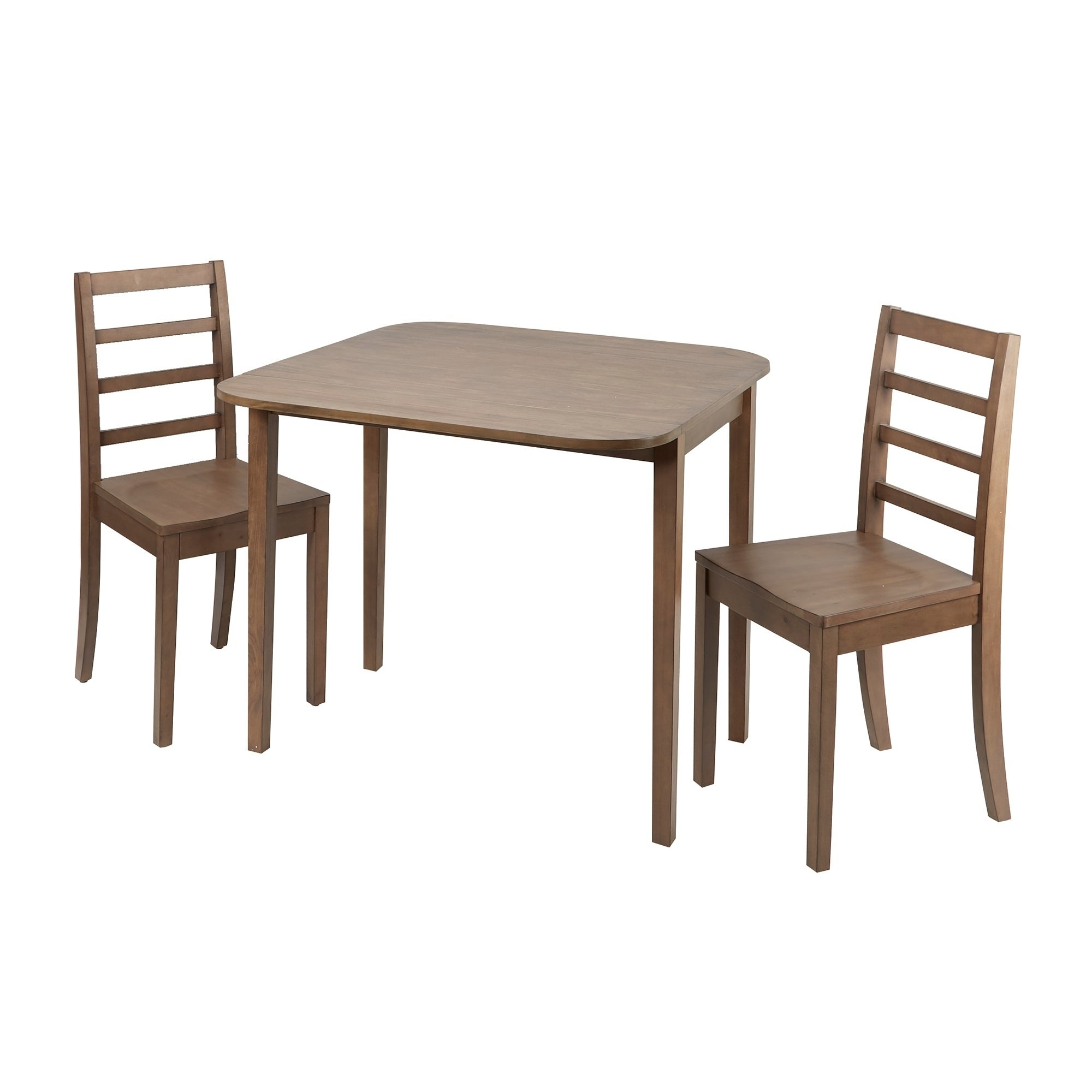 2017 Mason 3 Piece Drop Leaf Dining Set With Ladderback Chairs Intended For Transitional 3 Piece Drop Leaf Casual Dining Tables Set (View 1 of 30)