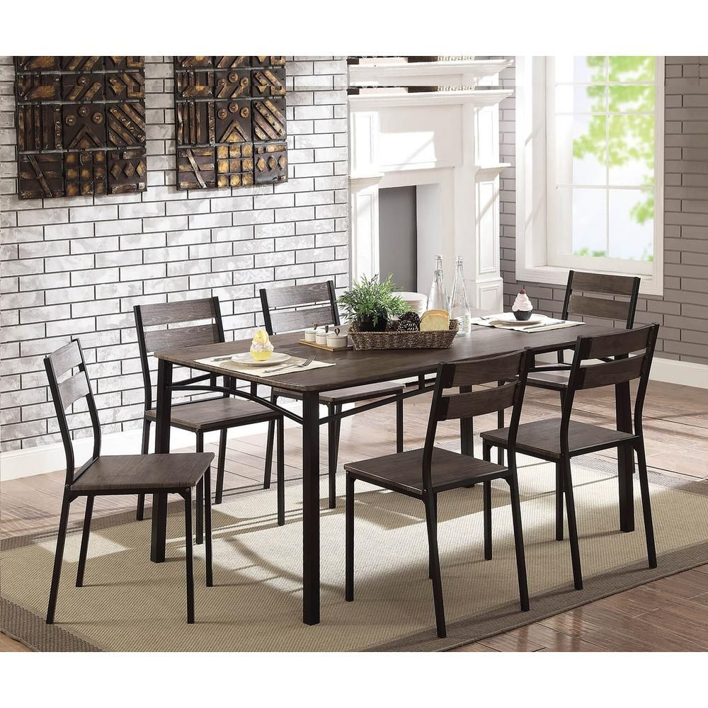 2017 Transitional Antique Walnut Square Casual Dining Tables With Regard To William's Home Furnishing Wesport 7 Piece Transitional Style (View 19 of 30)