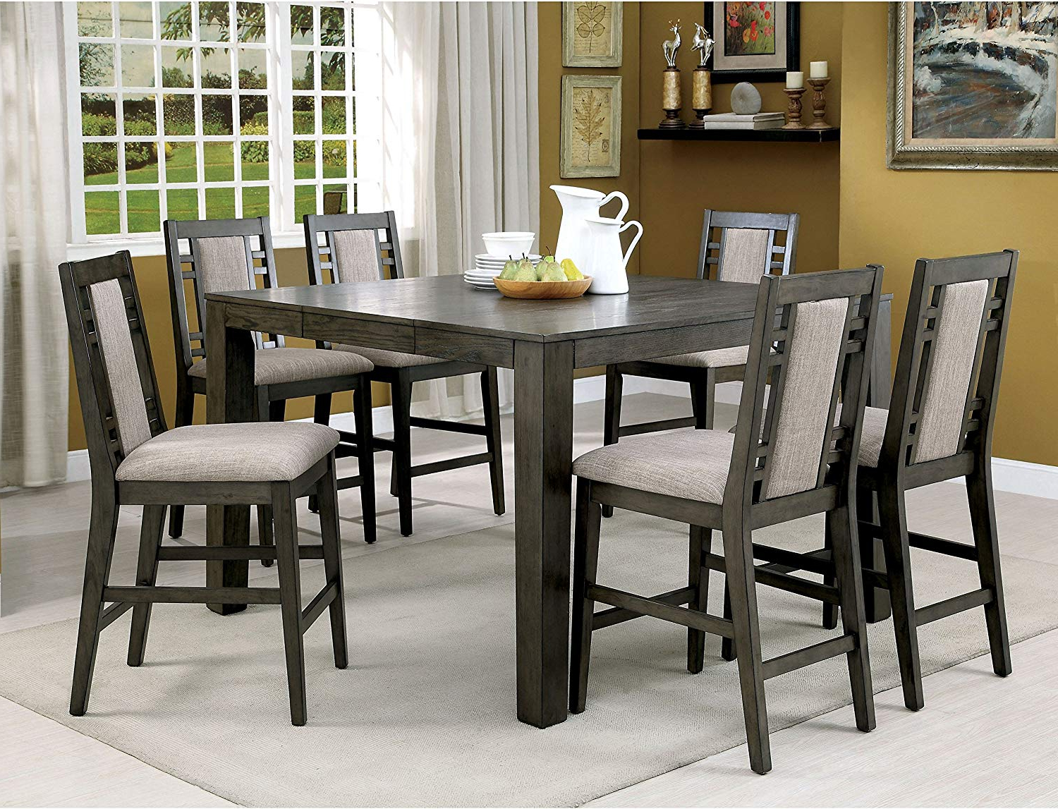 2017 Transitional Driftwood Casual Dining Tables With Regard To Amazon: Rustic Weathered Grey 7 Piece Counter Height (View 1 of 30)