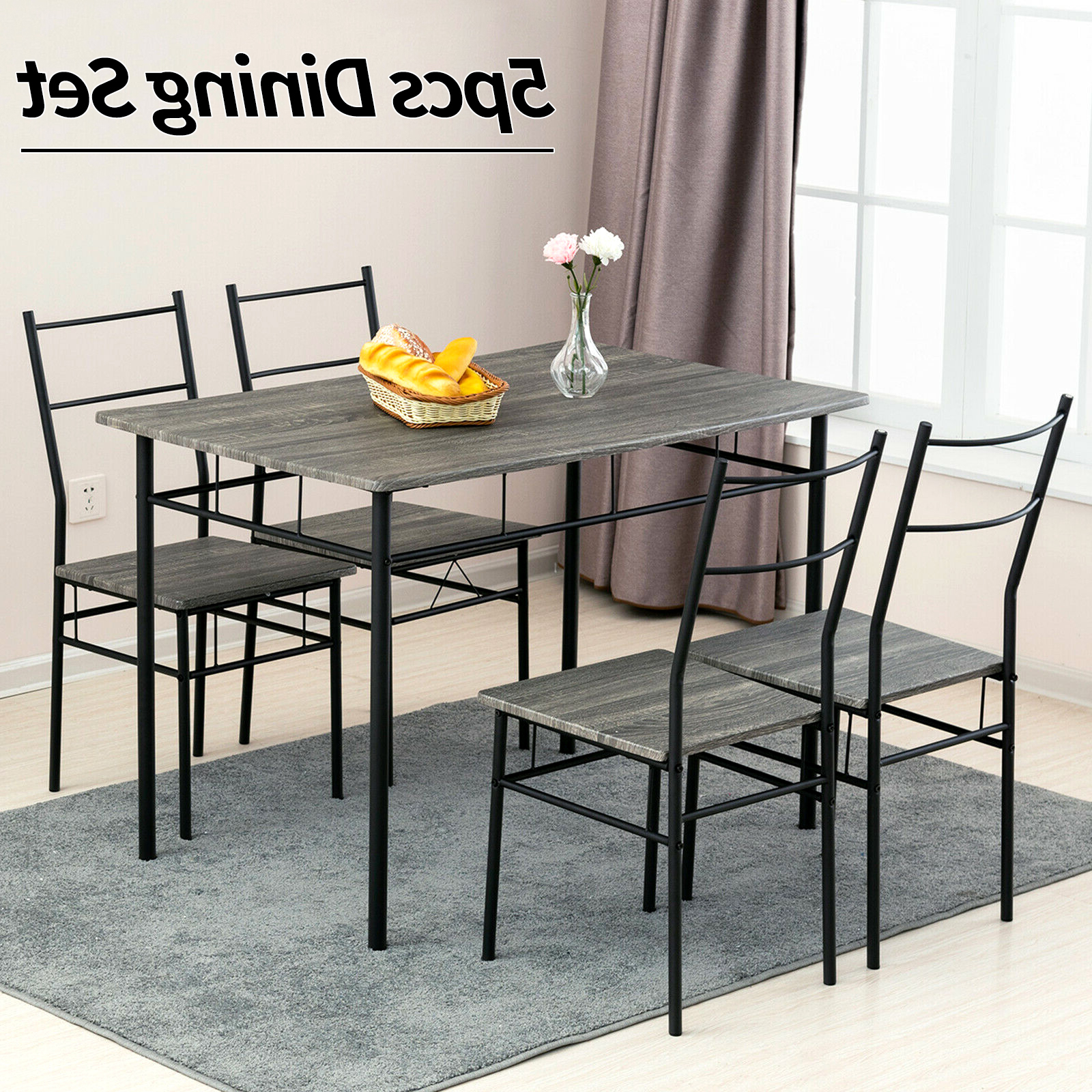 2017 Wood Top Dining Tables For Details About 5 Piece Metal Dining Table Set 4 Chairs Wood Top Dining Room Home Furniture Grey (View 13 of 30)