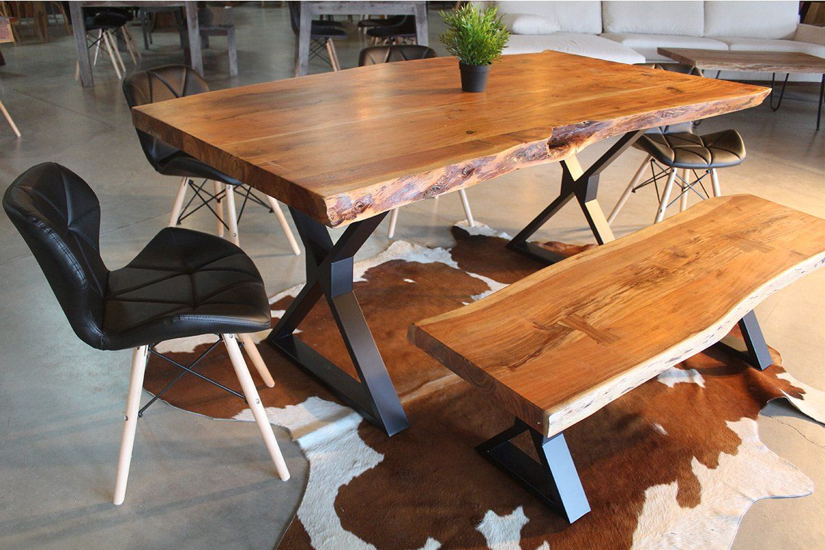 2018 Acacia Dining Tables With Black X Leg Regarding Acacia Live Edge Dining Table With Black X Shaped Legs (View 2 of 30)