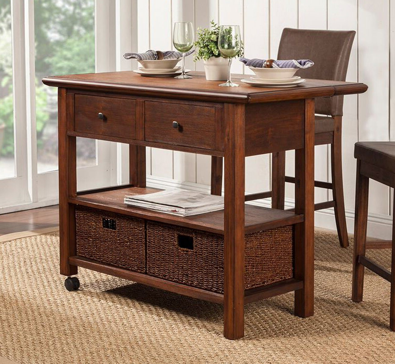 2018 Alpine Furniture Caldwell 3 Piece Kitchen Cart Set In Regarding Cappuccino Finish Wood Classic Casual Dining Tables (View 1 of 30)