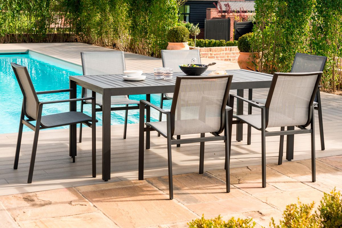 2018 Amalfi 6 Seat Rectangular Dining Set – With – Maze Rattan Within Contemporary 6 Seating Rectangular Dining Tables (View 13 of 30)