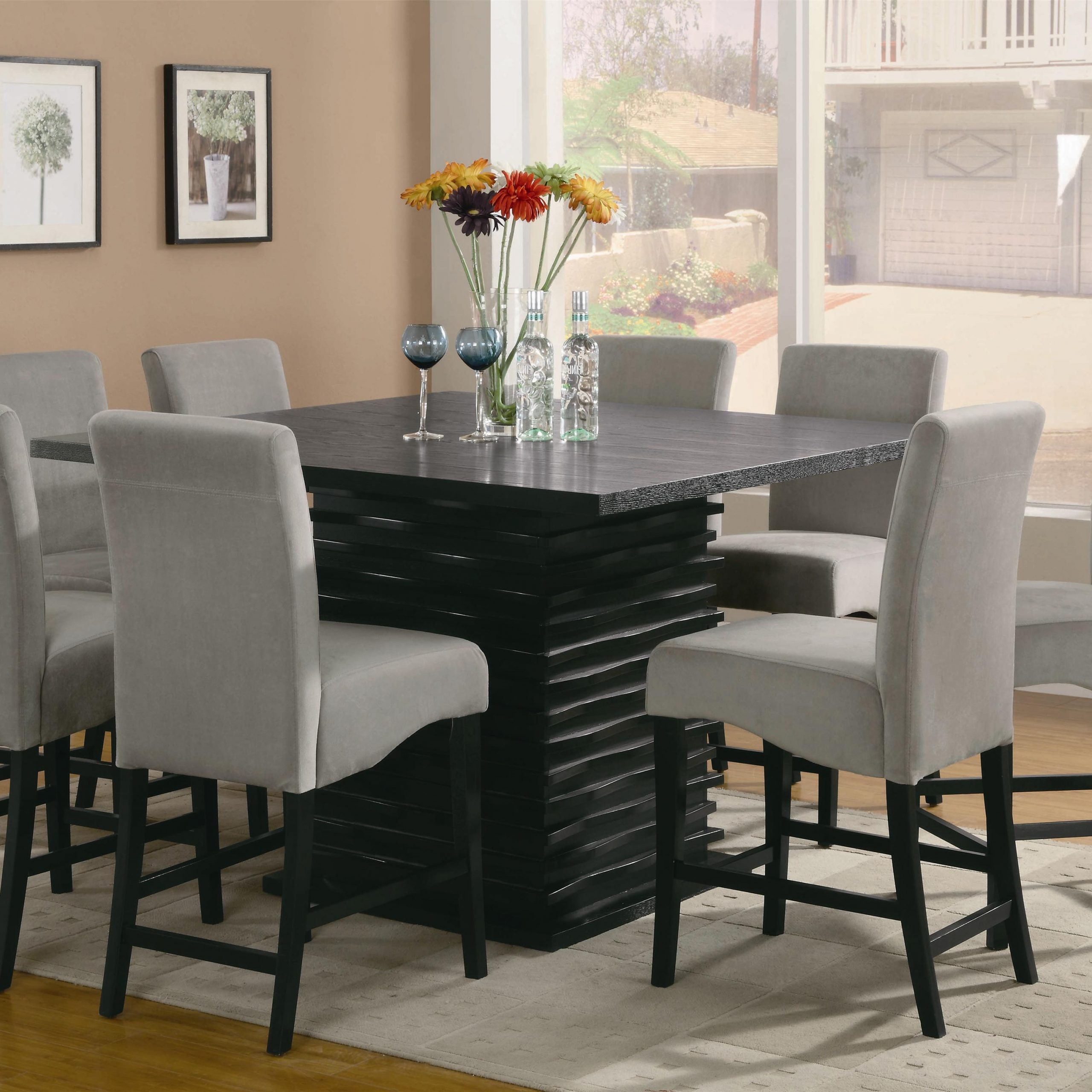 2018 Bistro Transitional 4 Seating Square Dining Tables With Stanton 9 Piece Table And Chair Set (View 13 of 30)