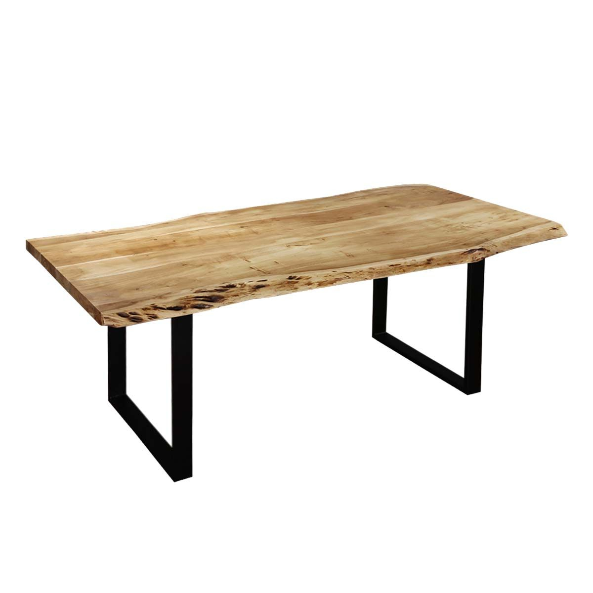2018 Contemporary Mango Wood & Iron Live Edge Dining Table Regarding Acacia Wood Top Dining Tables With Iron Legs On Raw Metal (View 4 of 30)