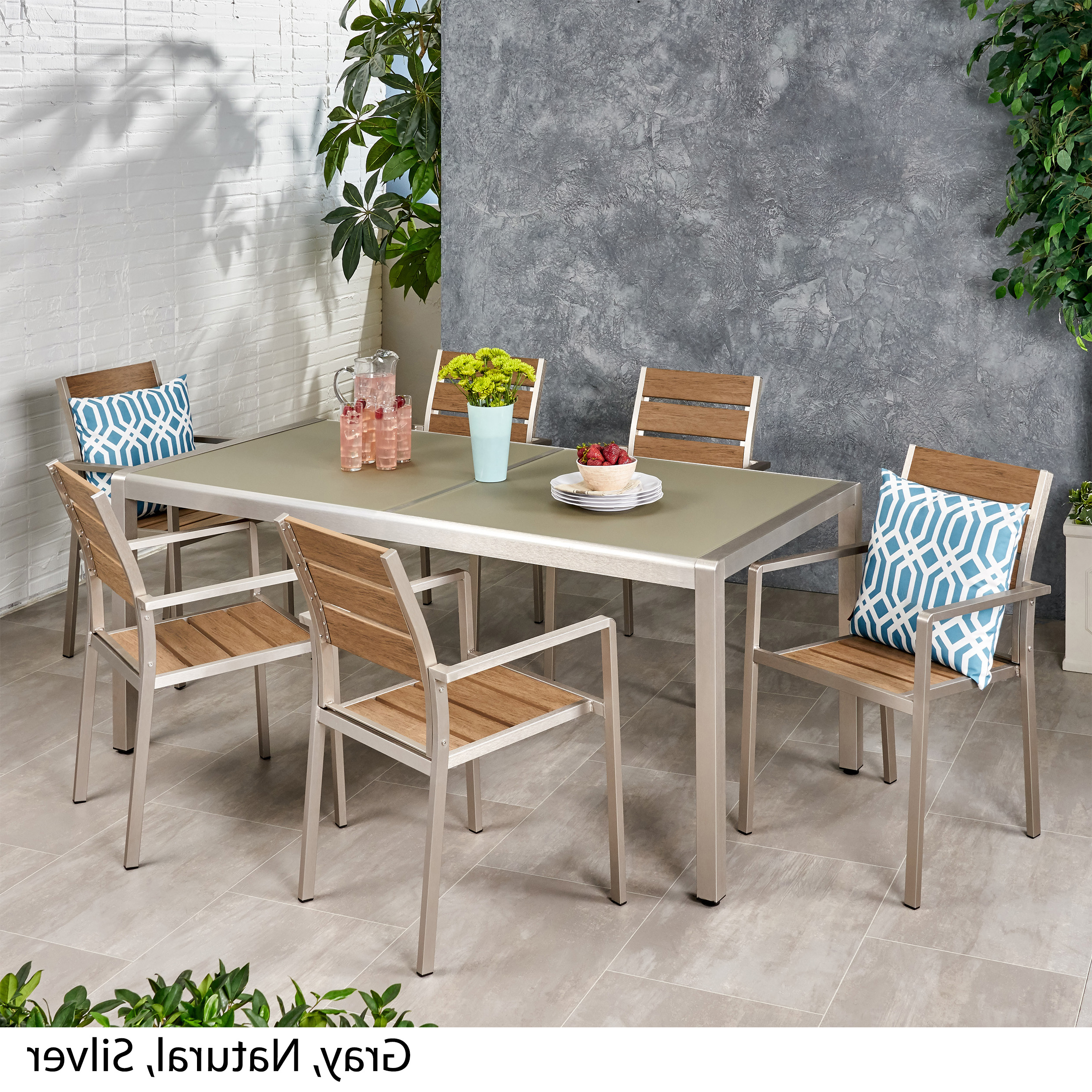 2018 Details About Cherie Outdoor Modern 6 Seater Aluminum Dining Set With Tempered Glass Table Top For Frosted Glass Modern Dining Tables With Grey Finish Metal Tapered Legs (View 21 of 30)