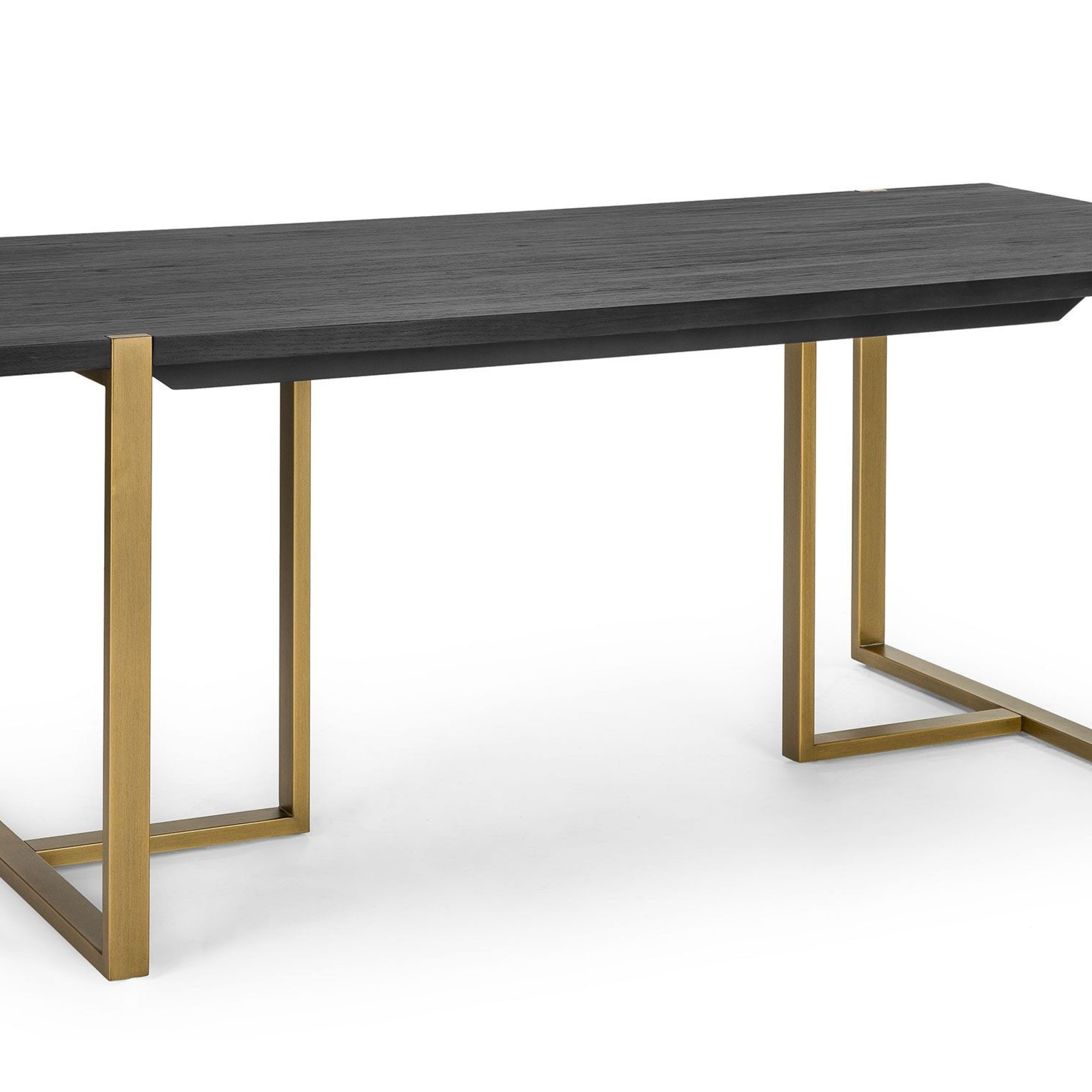 "2018 Dining Tables In Seared Oak With Brass Detail For Oscuro Black 78"" Dining Table (View 13 of 30)"