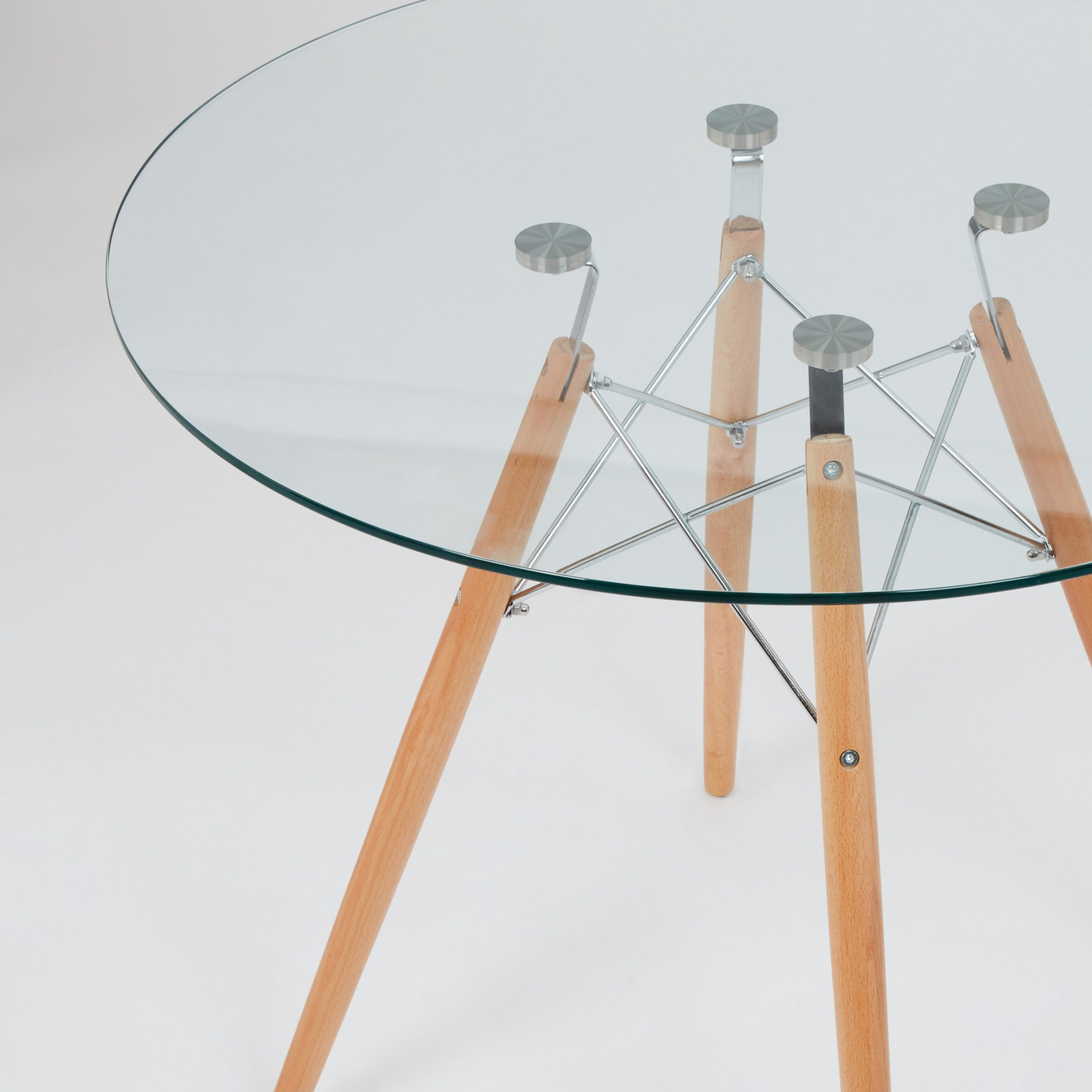 2018 Eames Style Dining Tables With Chromed Leg And Tempered Glass Top For Dining Glass Table With Beechwood Legs (Size: 80Cm (View 1 of 30)