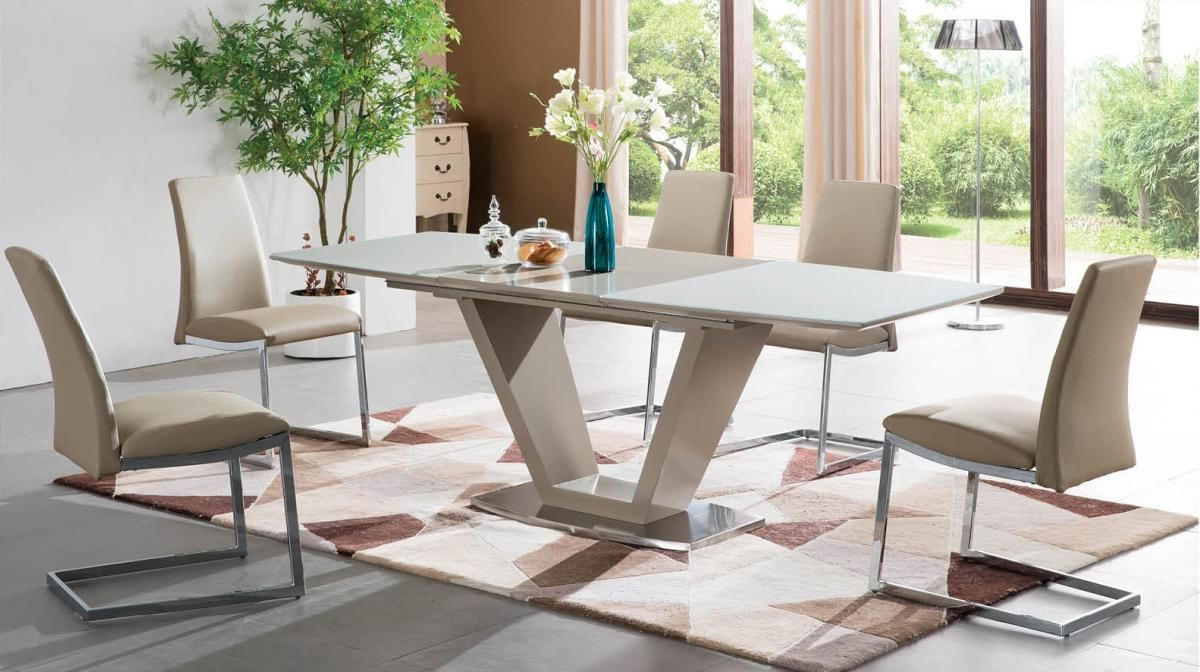2018 Extendable Rectangular Frosted Glass Top Dinner Furniture For Frosted Glass Modern Dining Tables With Grey Finish Metal Tapered Legs (View 8 of 30)