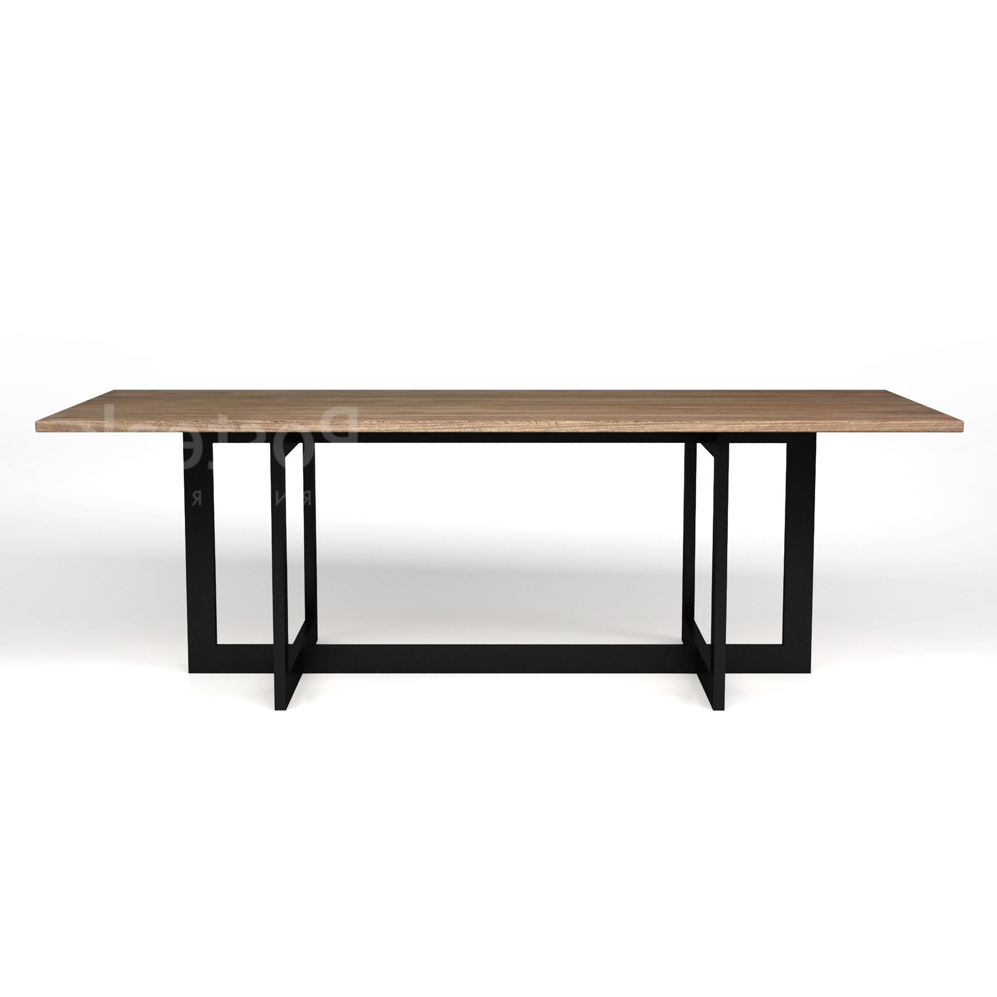 2018 Industrial Dining Table – Triple Metal Legs (View 5 of 30)