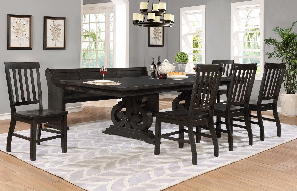 2018 Rustic Country 8 Seating Casual Dining Tables Within Alday 7 Piece Solid Wood Dining Set (View 11 of 30)