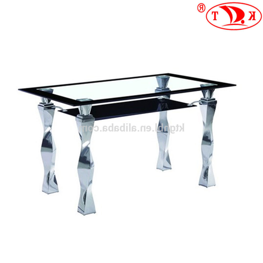 2018 Tempered Glass Top And Chrome Leg Two Layers Glass Dining Table – Buy Glass Top And Chrome Leg Two Layers Glass Dining Table,4 Seaters Dining Pertaining To Fashionable Chrome Dining Tables With Tempered Glass (View 5 of 30)