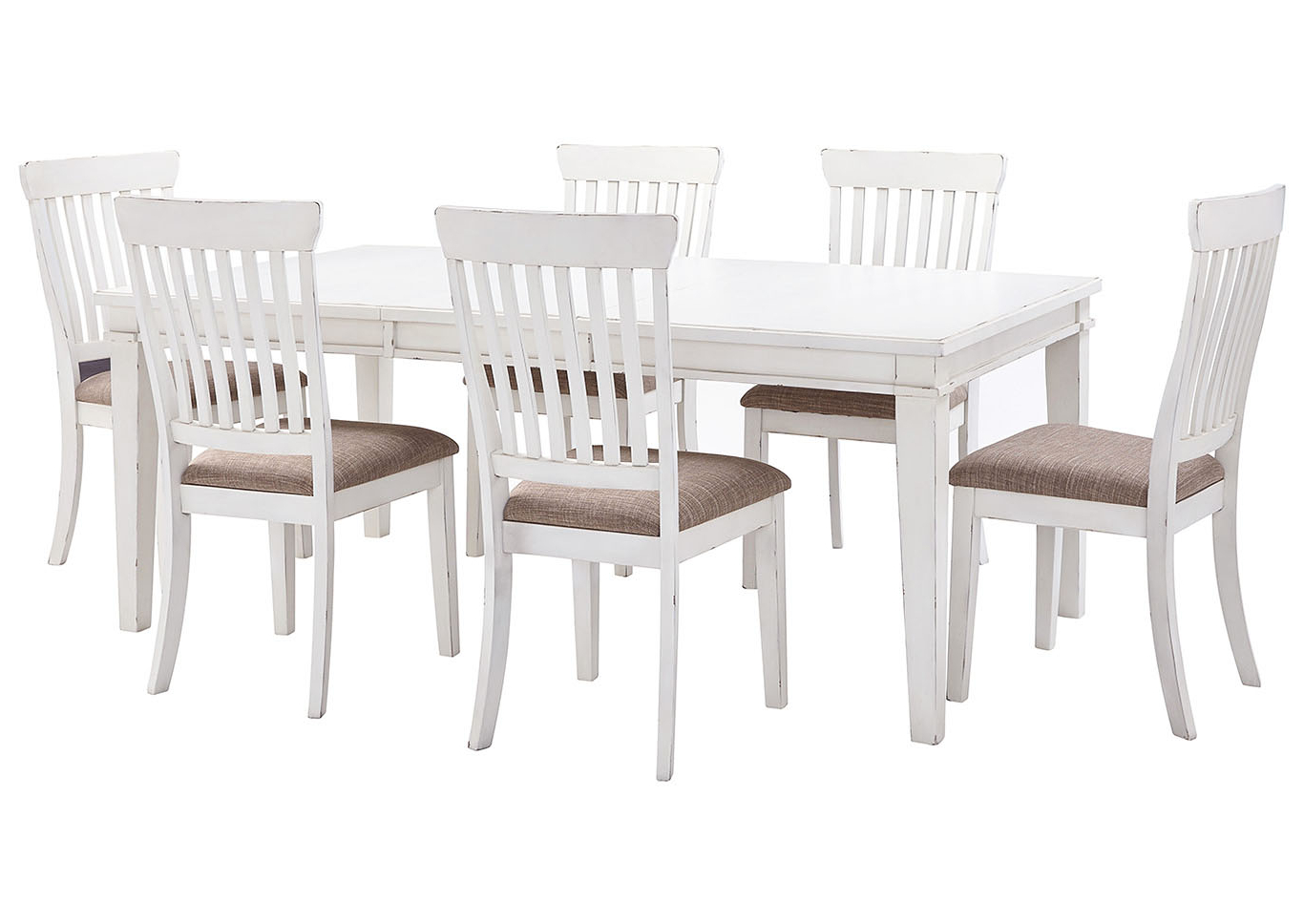 2018 Transitional 6 Seating Casual Dining Tables Intended For Curly's Furniture Danbeck White Dining Table Set W/dining (View 20 of 30)