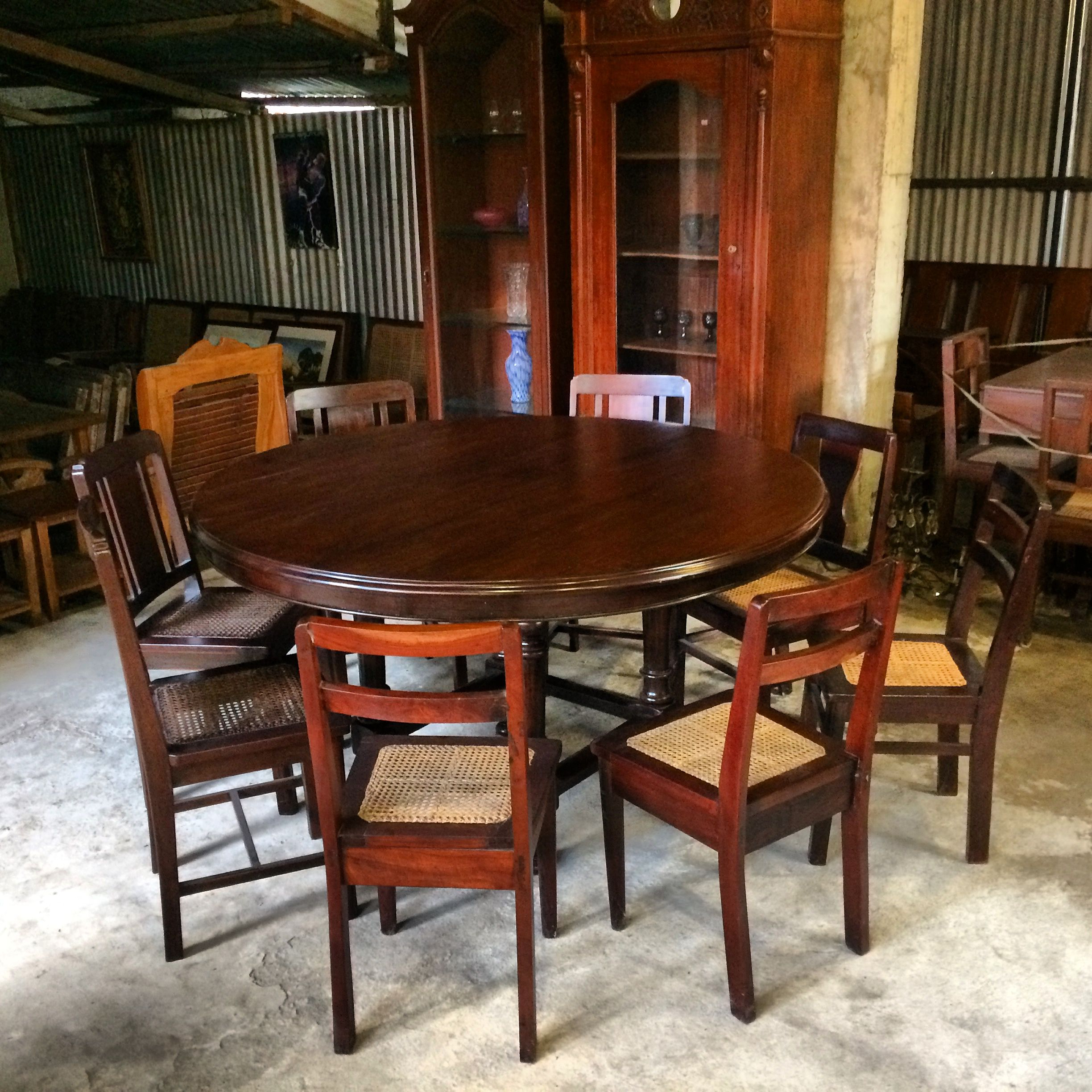 2018 Vintage Cream Frame And Espresso Bamboo Dining Tables Pertaining To My 6 7 Seater Vintage — Narra Dining Table — (View 17 of 30)