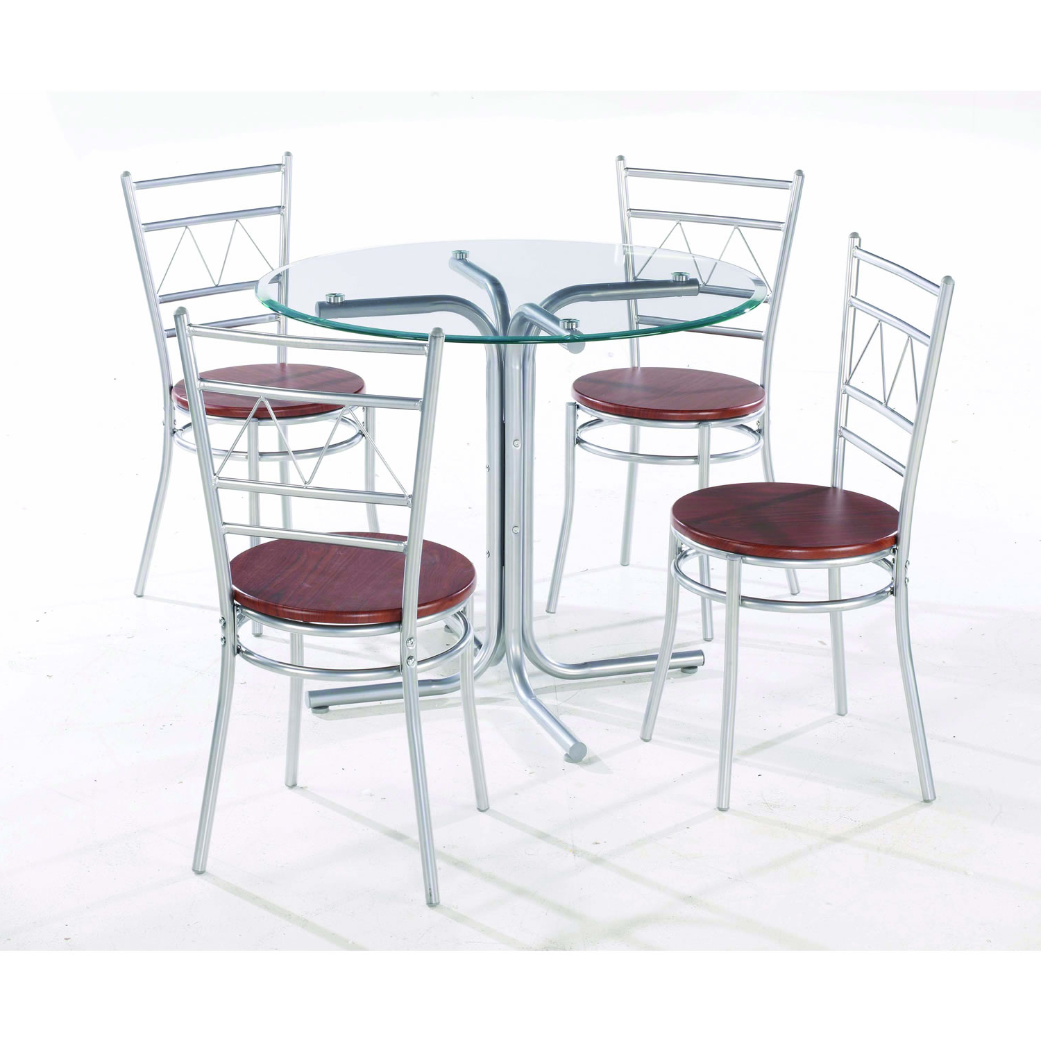 2018 Wonderful Round Glass Dining Table With Four Chrome Metal Throughout 4 Seater Round Wooden Dining Tables With Chrome Legs (View 5 of 30)