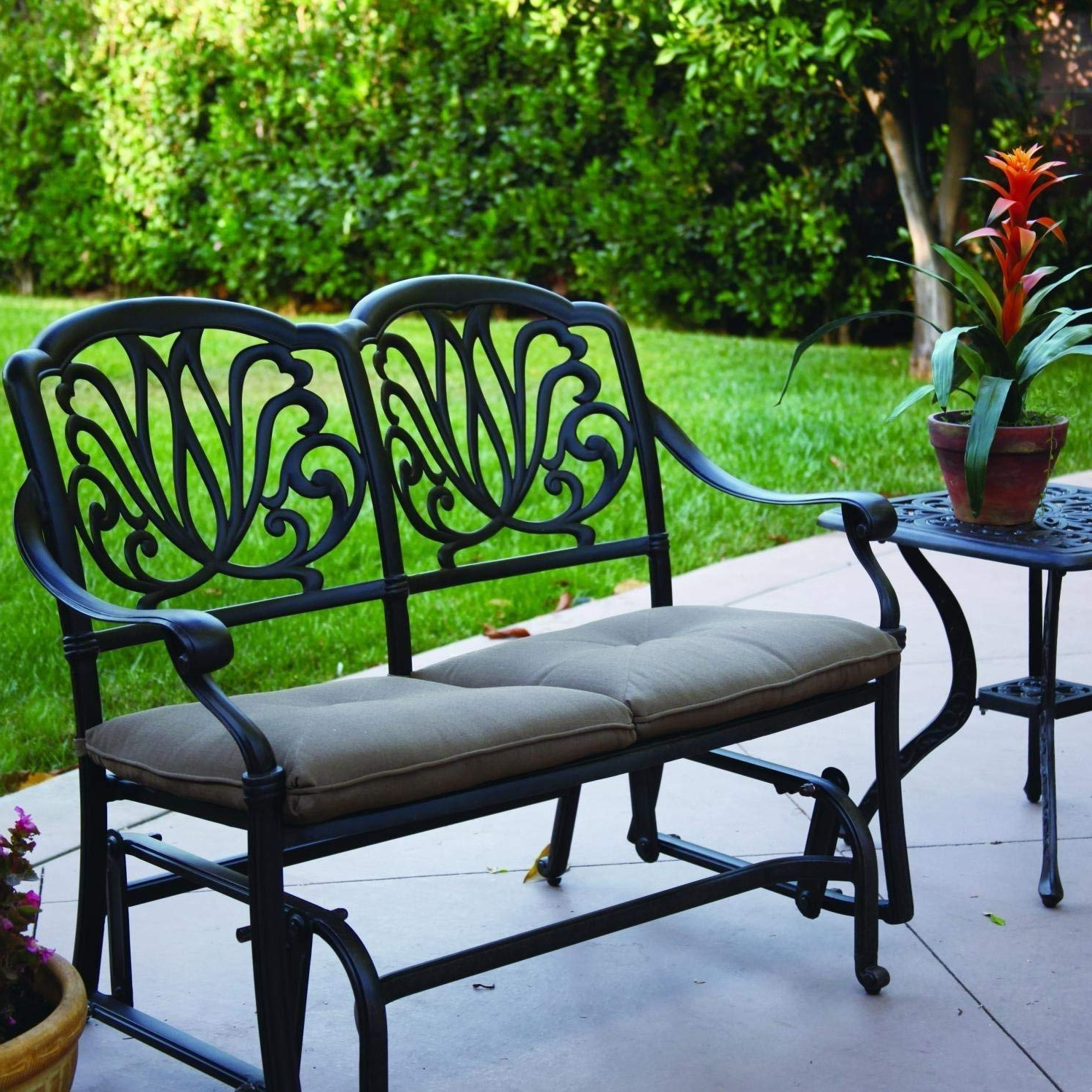 Featured Photo of 2 Person Antique Black Iron Outdoor Gliders