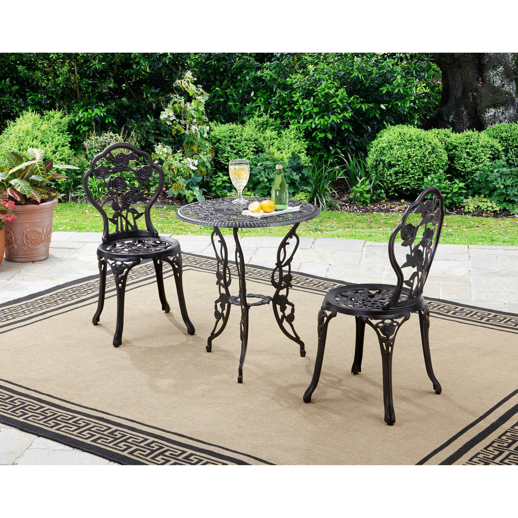 2019 2 Person Antique Black Iron Outdoor Swings Within Better Homes And Gardens Rose 3 Piece Outdoor Bistro Set (View 9 of 30)