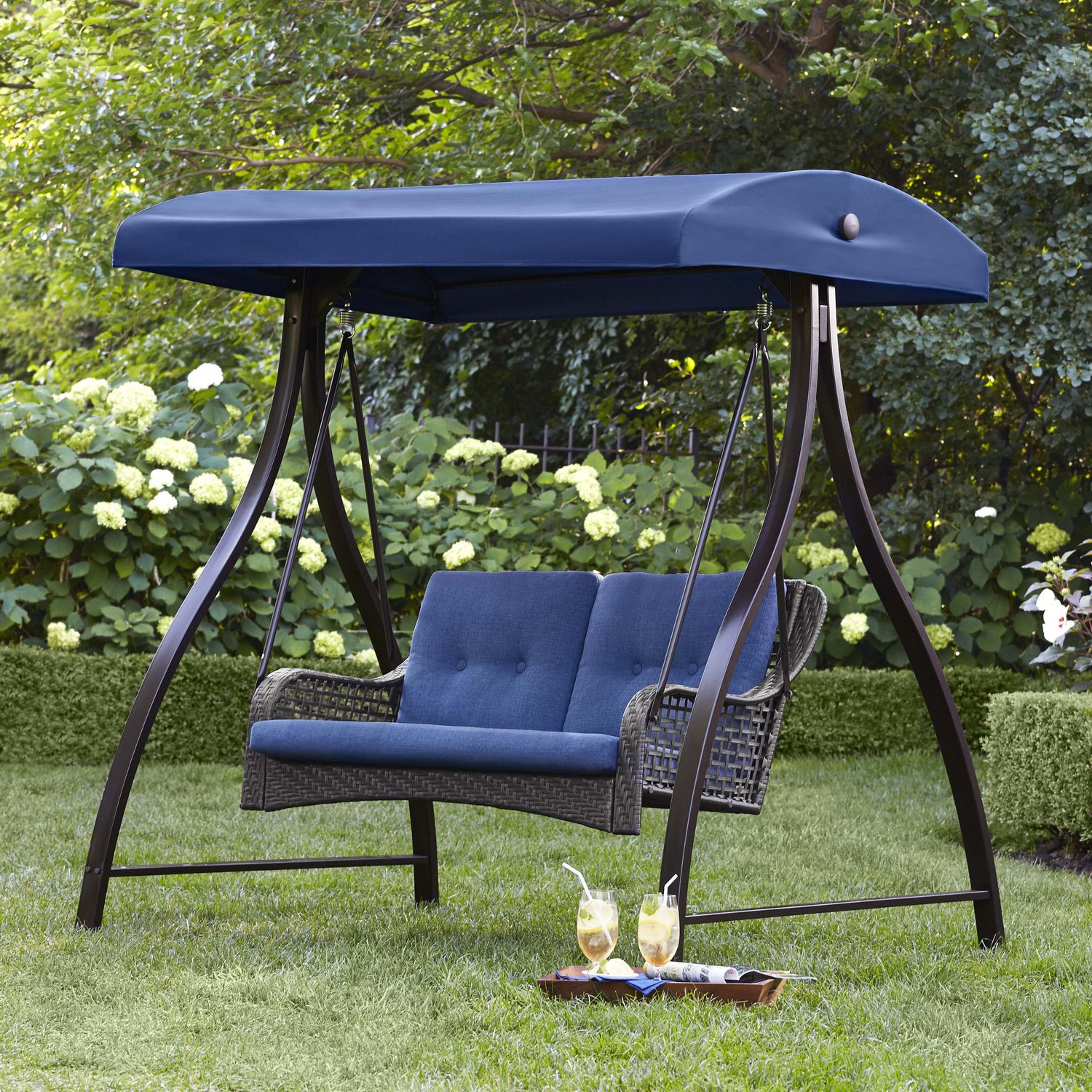2019 2 Person Black Steel Outdoor Swings Throughout Hometrends Tuscany 2 Person Swing (View 8 of 30)