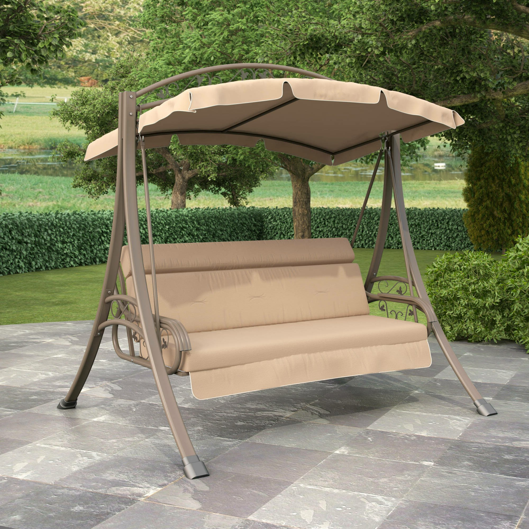 2019 2 Person Hammock Porch Swing Patio Outdoor Hanging Loveseat Canopy Glider Swings Within Patio Garden Swings Ebay (View 24 of 30)