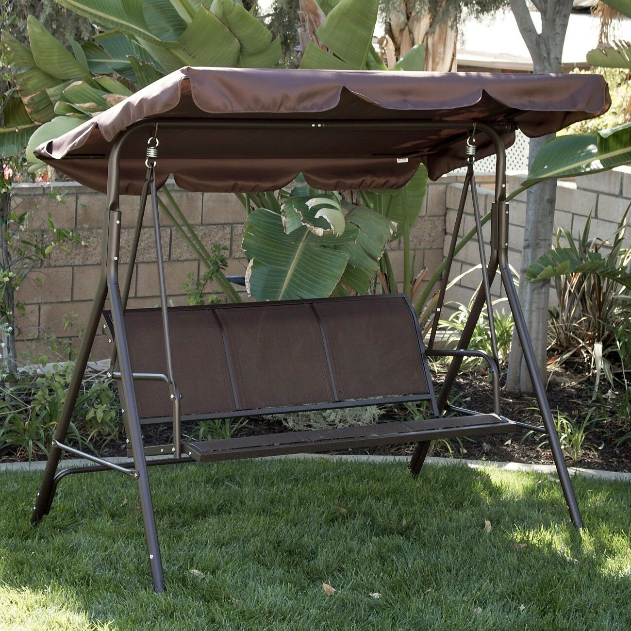 2019 3 Person Patio Swing Canopy Awning Outdoor Hammock Steel Brown Intended For 3 Person Brown Steel Outdoor Swings (View 9 of 30)