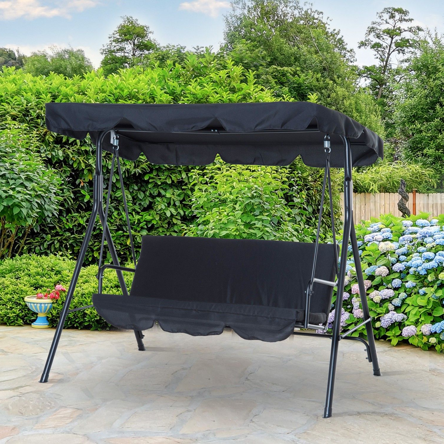 2019 3 Seats Patio Canopy Swing Gliders Hammock Cushioned Steel Frame Pertaining To Outsunny Metal 3 Seater Outdoor Patio Swing With Canopy (View 1 of 30)