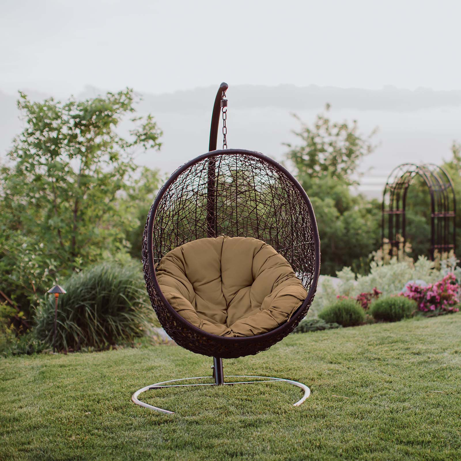 2019 Appealing Outdoor Patio Swing Chair Colors Black Hammock Intended For Wicker Glider Outdoor Porch Swings With Stand (View 2 of 30)