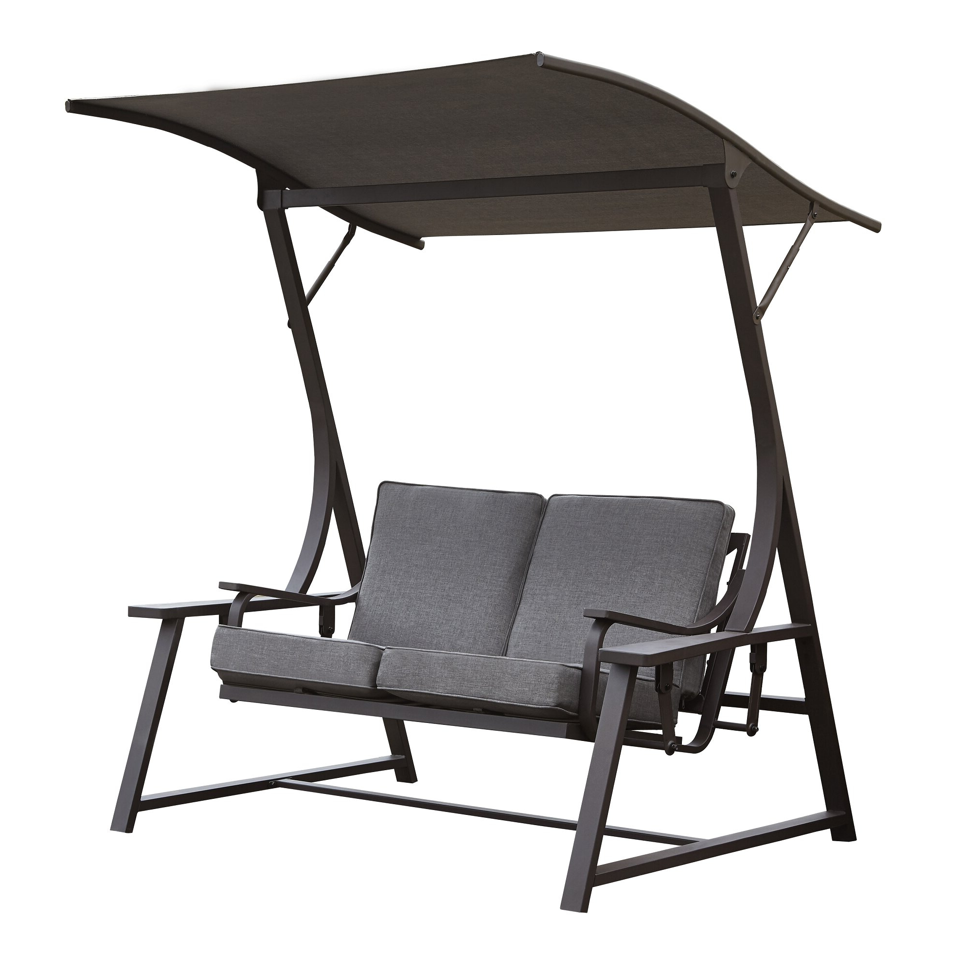 2019 Canopy Patio Porch Swing With Stand Pertaining To Marquette Glider Porch Swing With Stand (View 18 of 30)