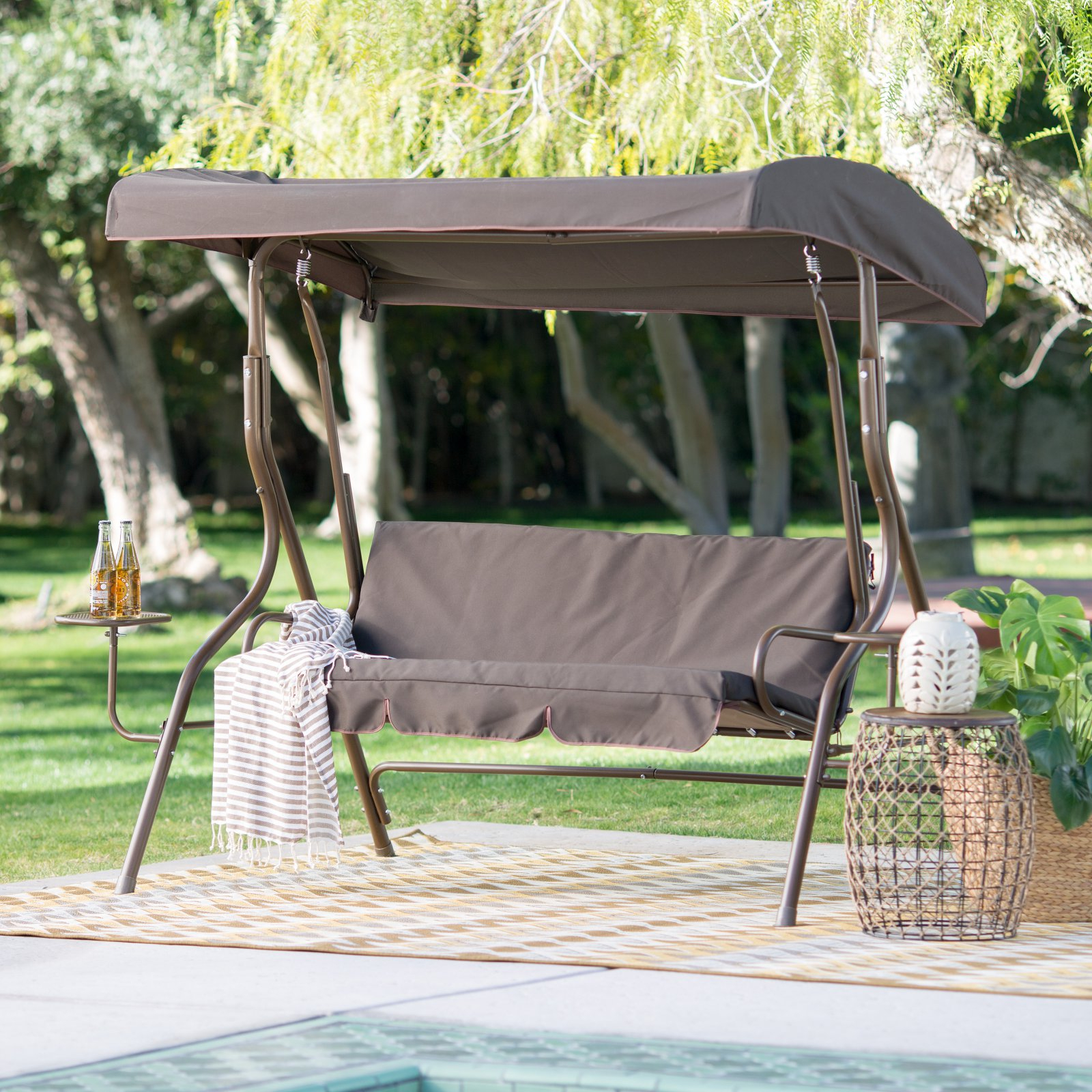 2019 Coral Coast Lakewood 2 Person Adjustable Tilt Canopy Metal Swing With Side Tables – Walmart For 2 Person Adjustable Tilt Canopy Patio Loveseat Porch Swings (View 19 of 30)