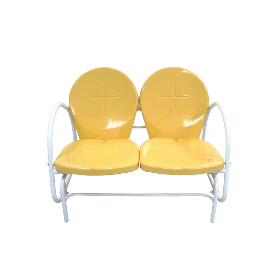2019 Garden Treasures Retro Yellow Double Glider On Popscreen For Outdoor Retro Metal Double Glider Benches (View 26 of 30)