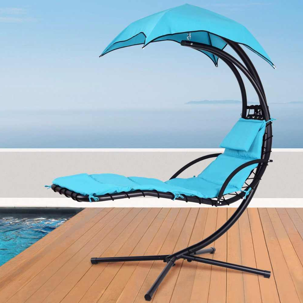 2019 Giantex Hanging Chaise Lounger Chair Arc Stand Porch Swing In Outdoor Pvc Coated Polyester Porch Swings With Stand (View 12 of 30)