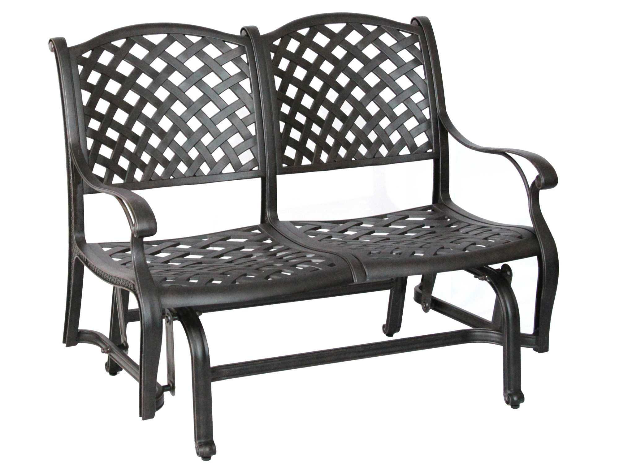 2019 Glider Benches With Cushions Intended For Darlee Outdoor Living Standard Nassau Cast Aluminum Antique (View 1 of 30)