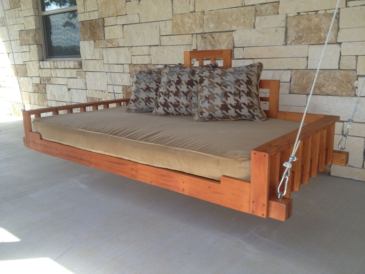 2019 Hand Made Outdoor Patio Swing Bed Or Hanging Day Bed With Regard To Hanging Daybed Rope Porch Swings (View 3 of 30)