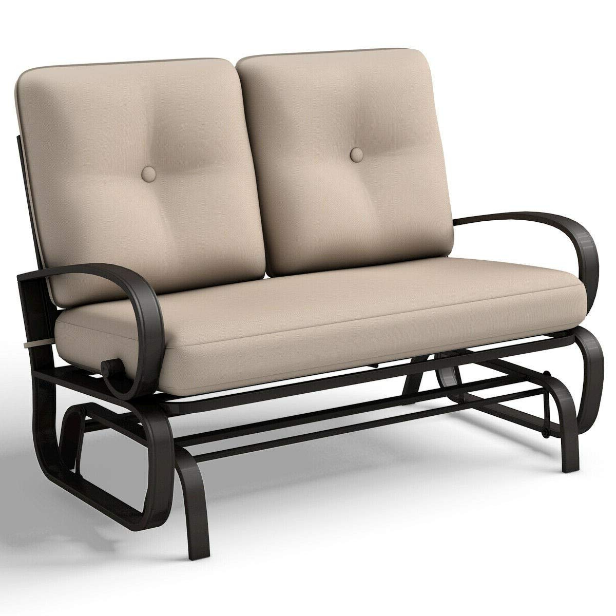 2019 Outdoor Loveseat Gliders With Cushion Within Amazon: Porch Glider Backyard Garden Patio Swing Chairs (View 6 of 30)