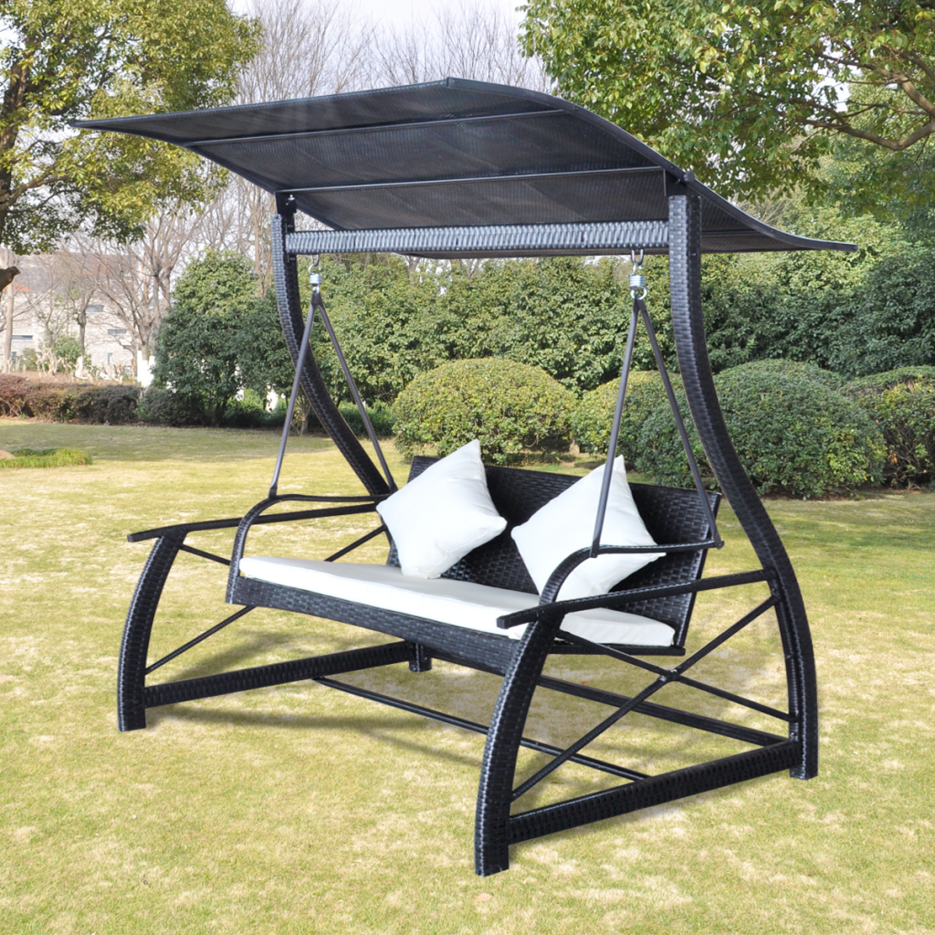 2019 Outdoor Swing Glider Chairs With Powder Coated Steel Frame Within Black Rocking Chair With Rattan Pendant Black Roof – Lovdock (View 10 of 30)