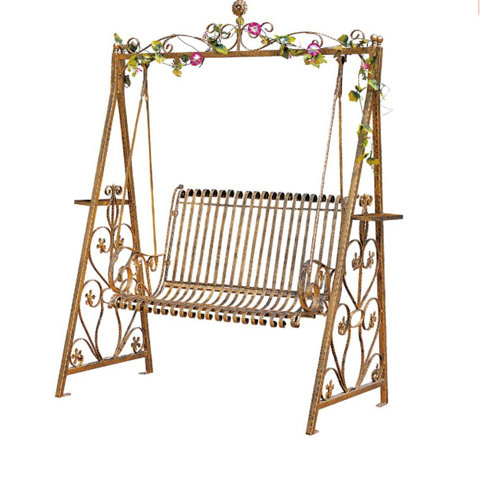2019 Porch Swings Double Rocking Chair, Wrought Iron Hanging Throughout Rosean Porch Swings (View 19 of 30)