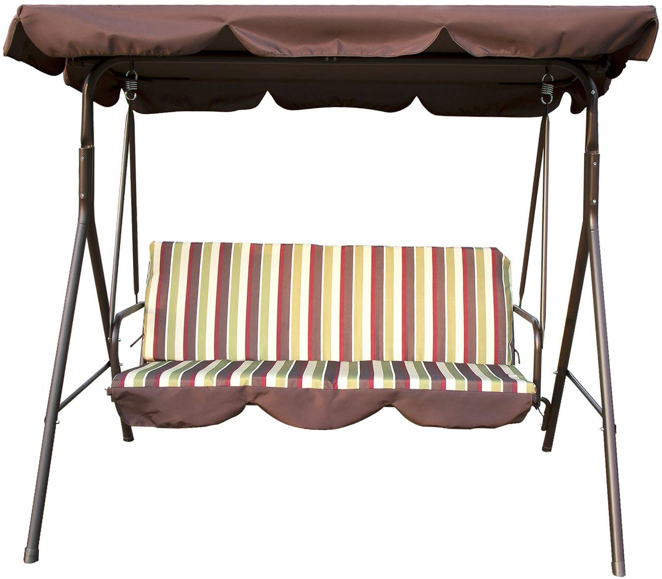 2019 Sliverylake Outdoor Patio Swing Chair 3 Person Porch Cushion With Stand Glider Hammock Bench With Canopy Seating Backyard Furniture Steel Frame Pertaining To Patio Glider Hammock Porch Swings (View 25 of 30)