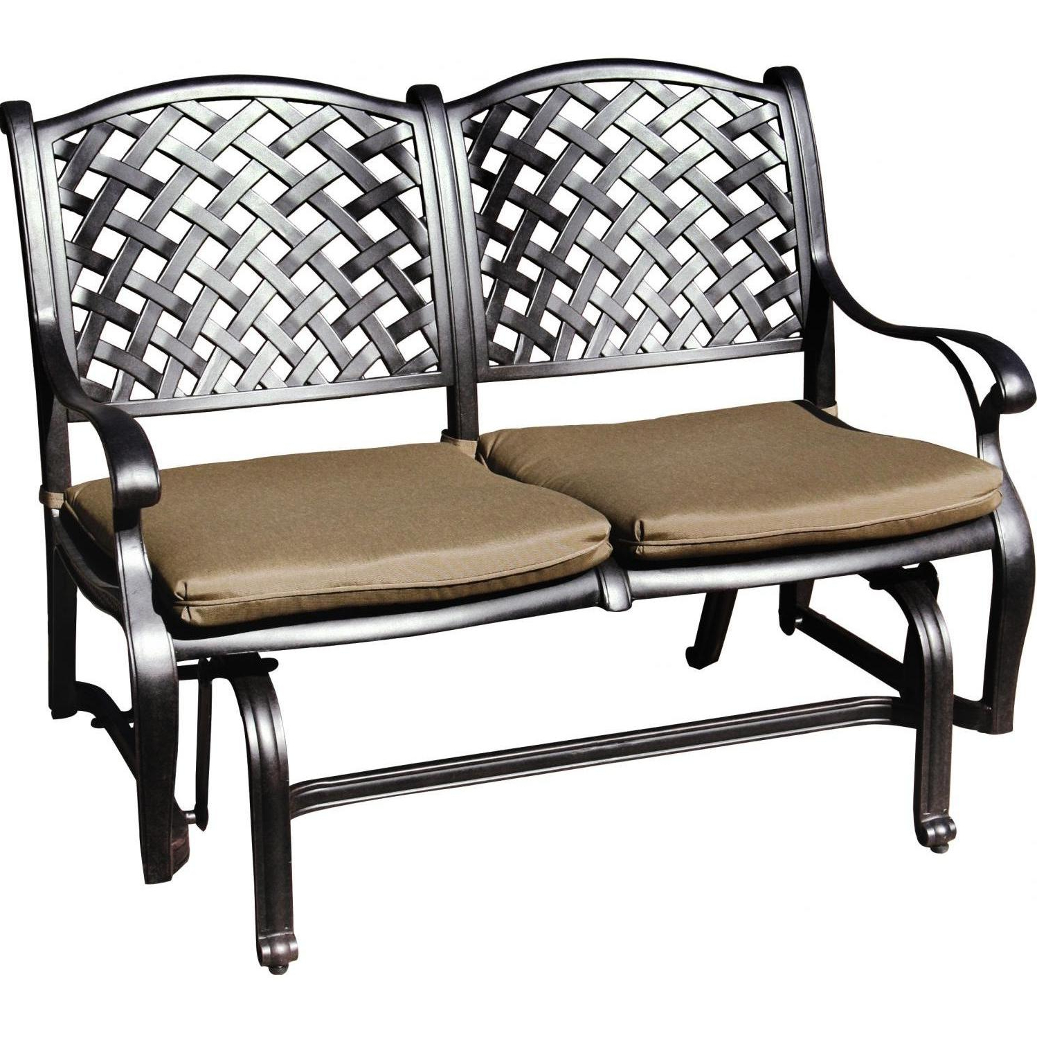 2020 2 Person Antique Black Iron Outdoor Gliders Throughout Darlee Nassau Cast Aluminum Patio Bench Glider (View 9 of 30)