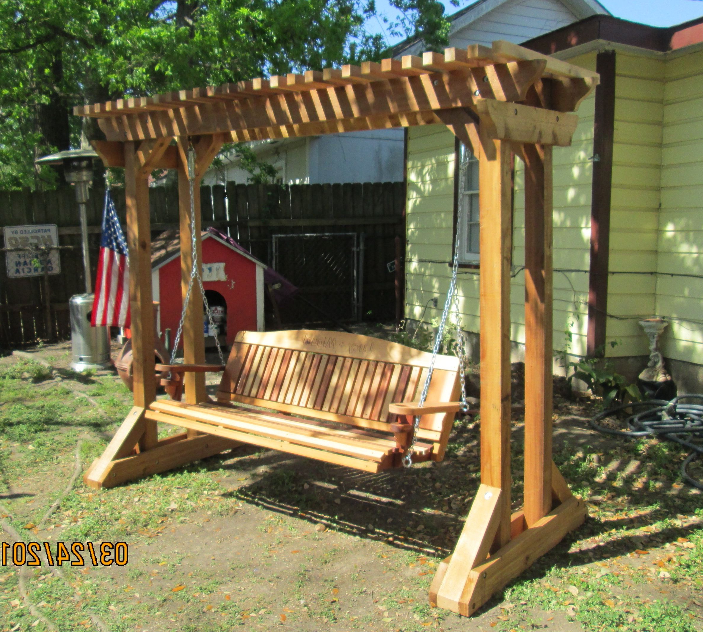 2020 3 Person Natural Cedar Wood Outdoor Swings In Outdoor Swing Frames (View 15 of 30)
