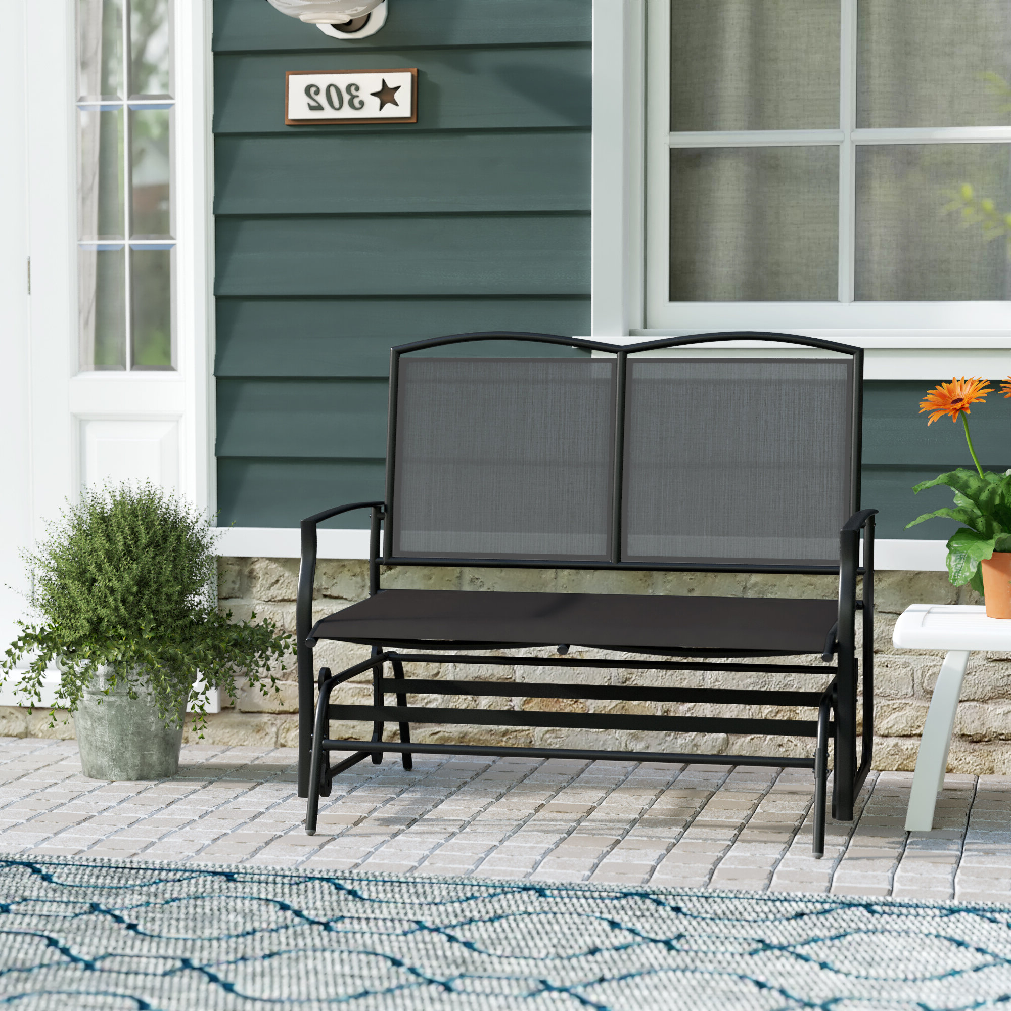 2020 Ashong 2 Seat Steel Glider Bench Pertaining To Black Steel Patio Swing Glider Benches Powder Coated (View 1 of 30)