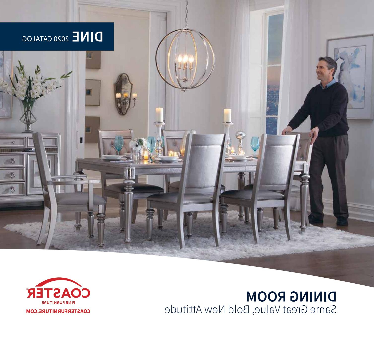 2020 Coaster Catalog Dinecoaster Company Of America – Issuu For Recent Frosted Glass Modern Dining Tables With Grey Finish Metal Tapered Legs (View 15 of 30)