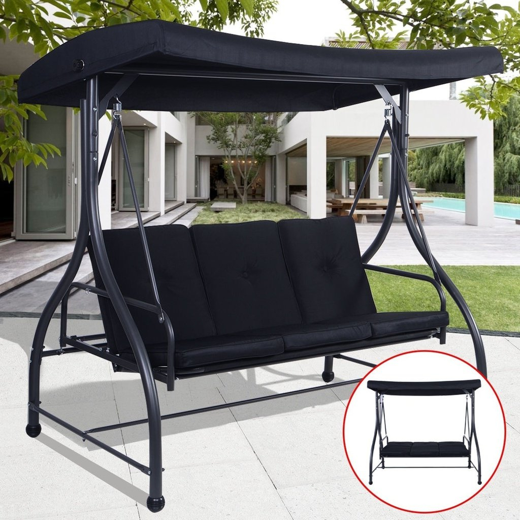 2020 Converting Outdoor Swing Canopy Hammock 3 Seats Patio Deck With Outdoor Pvc Coated Polyester Porch Swings With Stand (View 3 of 30)