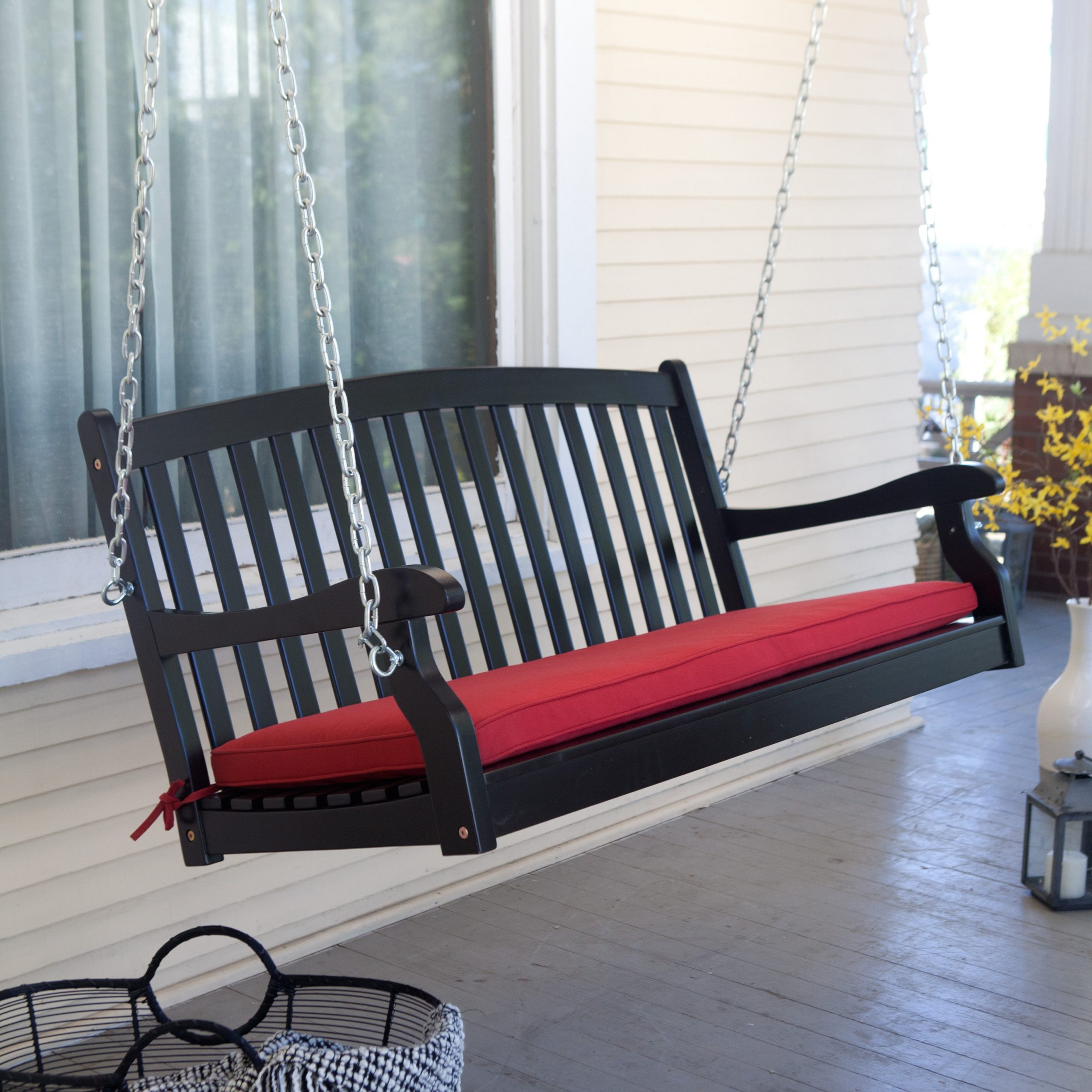 2020 Coral Coast Pleasant Bay Black Curved Back Porch Swing With Within 5 Ft Cedar Swings With Springs (View 15 of 30)
