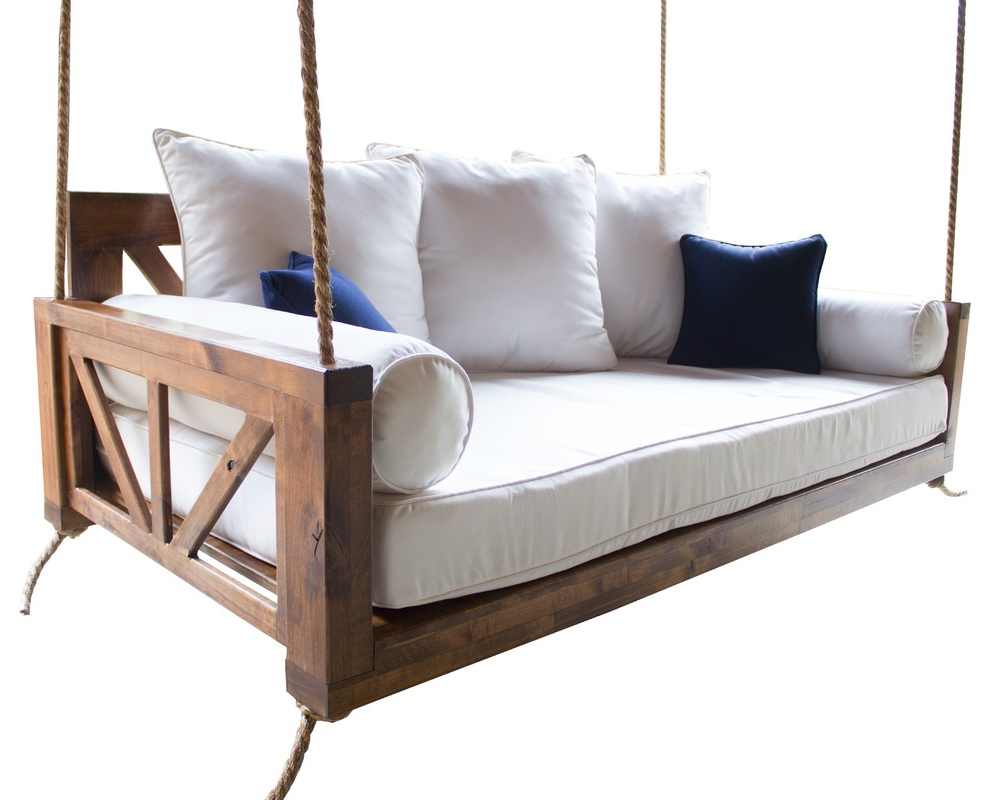 2020 Day Bed Porch Swings Pertaining To Avery Wood Porch Swing Bed, Charred Ember Finish, Crib Mattress Size (View 11 of 30)