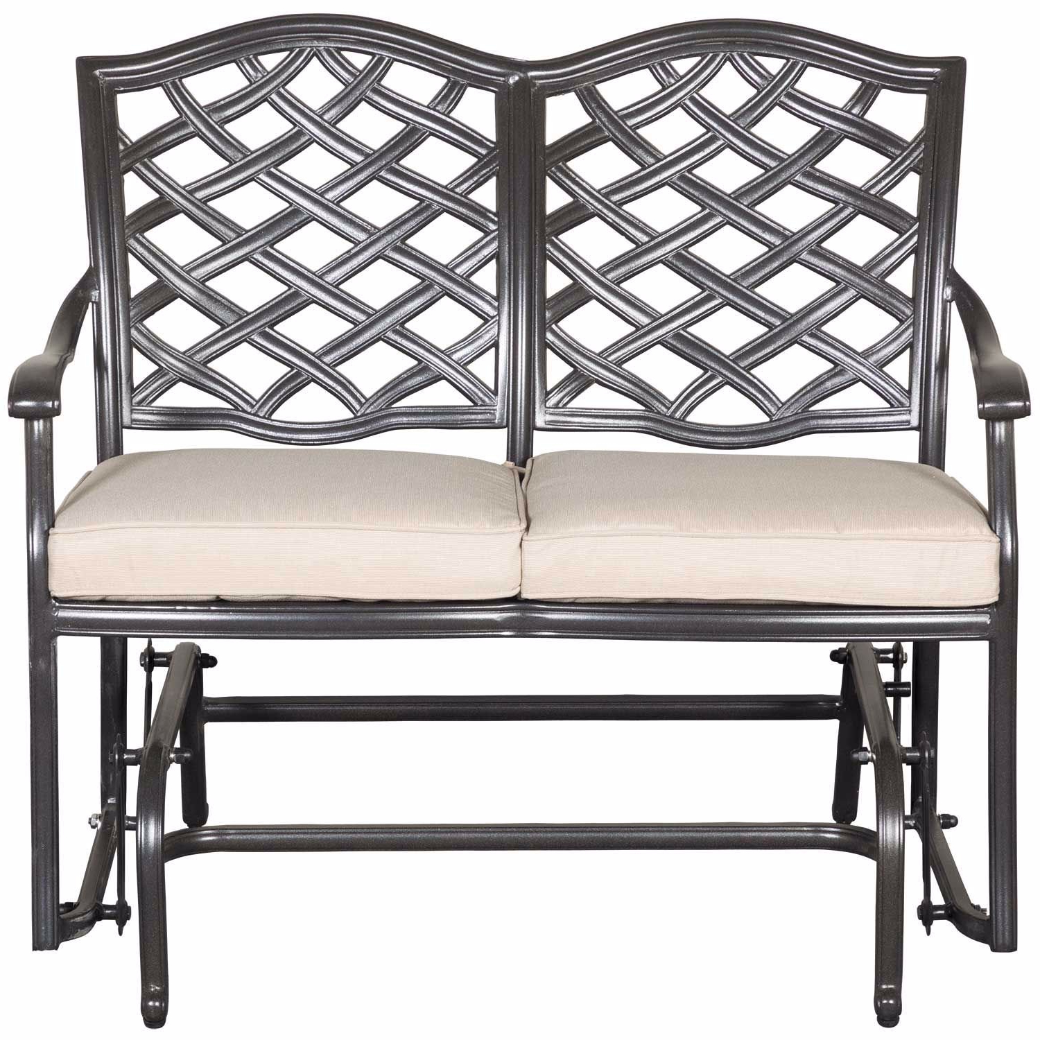 2020 Halston Patio Glider Loveseat With Cushions Within Glider Benches With Cushions (View 2 of 30)