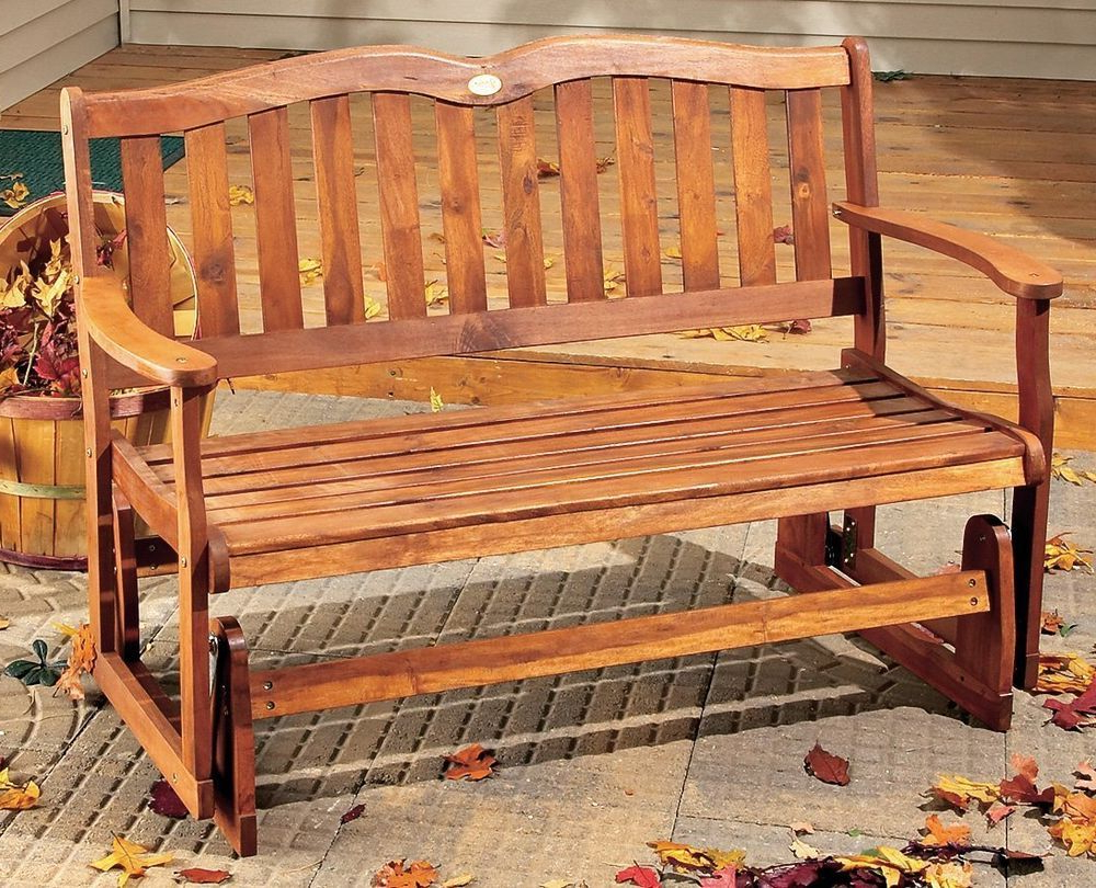 2020 Hardwood Porch Glider Benches Intended For Outdoor Wood Glider Bench 2 Person Patio Porch Deck Sunroom (View 12 of 30)