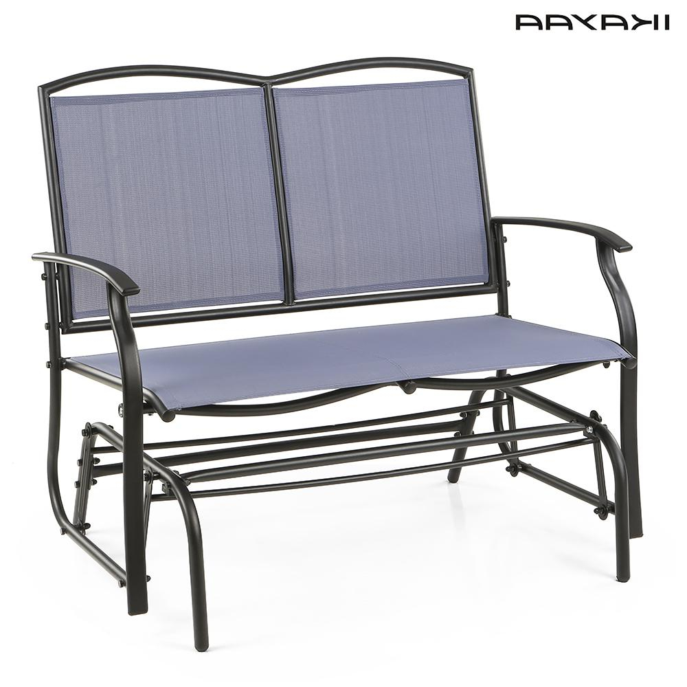 2020 Ikayaa 2 Person Patio Swing Glider Bench Chair Loveseat Pertaining To Outdoor Swing Glider Chairs With Powder Coated Steel Frame (View 5 of 30)