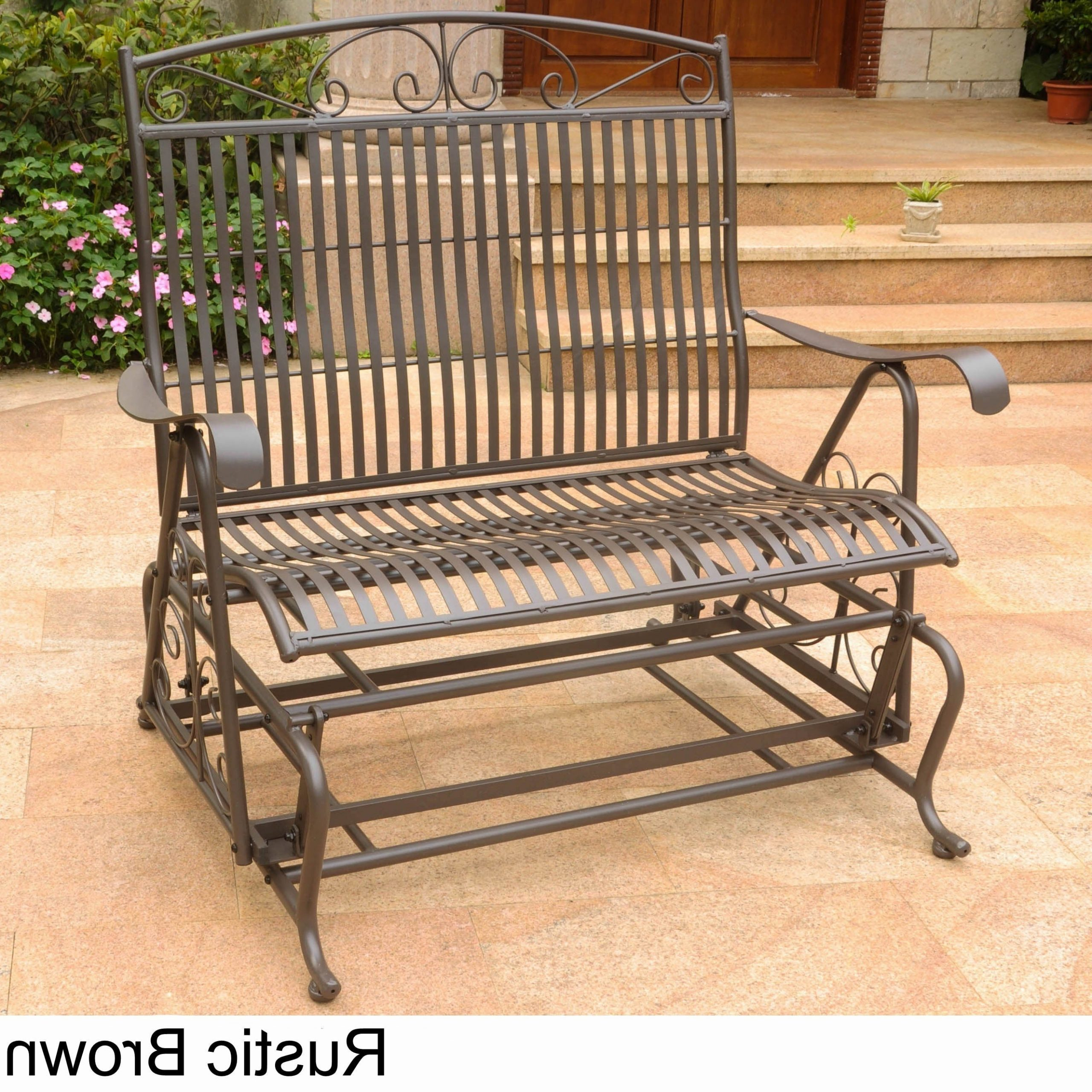 2020 International Caravan Mandalay Iron Double Glider Bench Seat Inside Iron Grove Slatted Glider Benches (View 12 of 30)