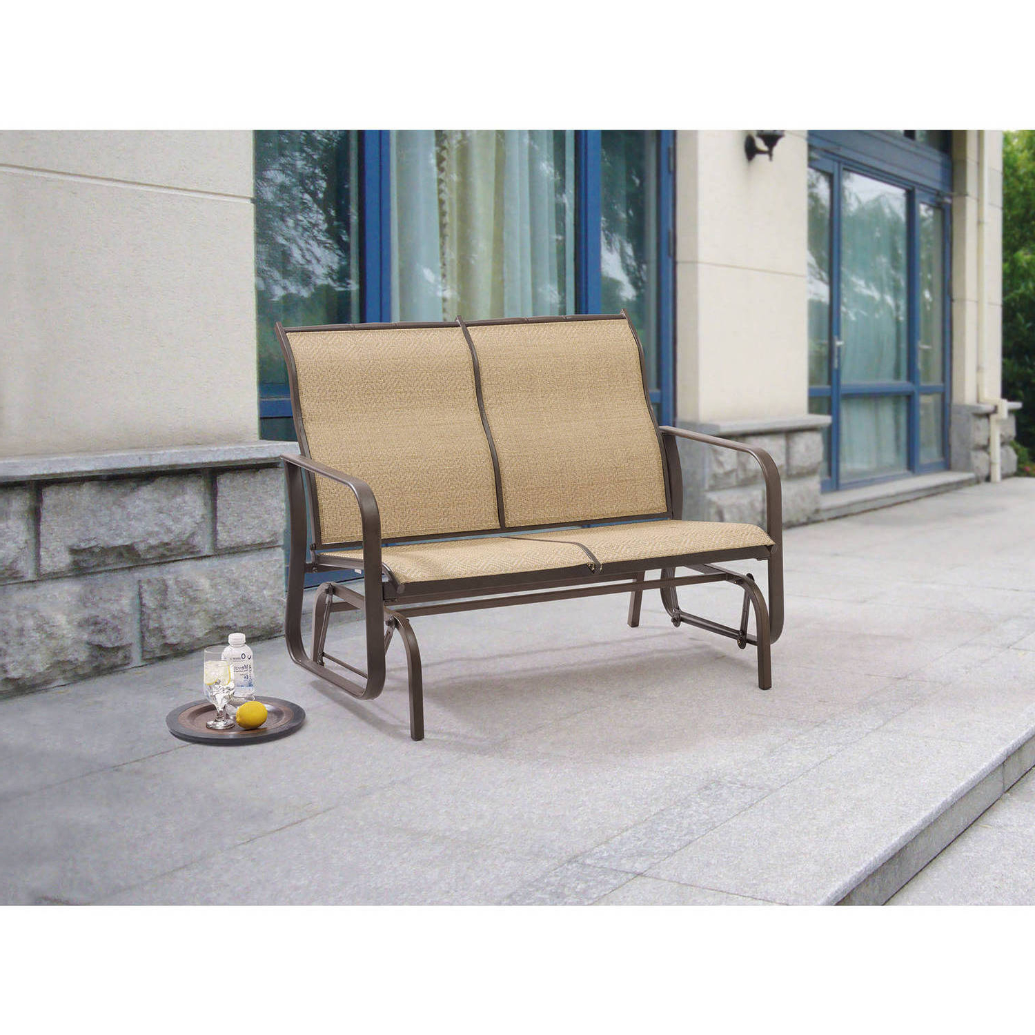 2020 Metal Powder Coat Double Seat Glider Benches In Mainstays Wesley Creek 2 Seat Outdoor Sling Seat Glider (View 1 of 30)