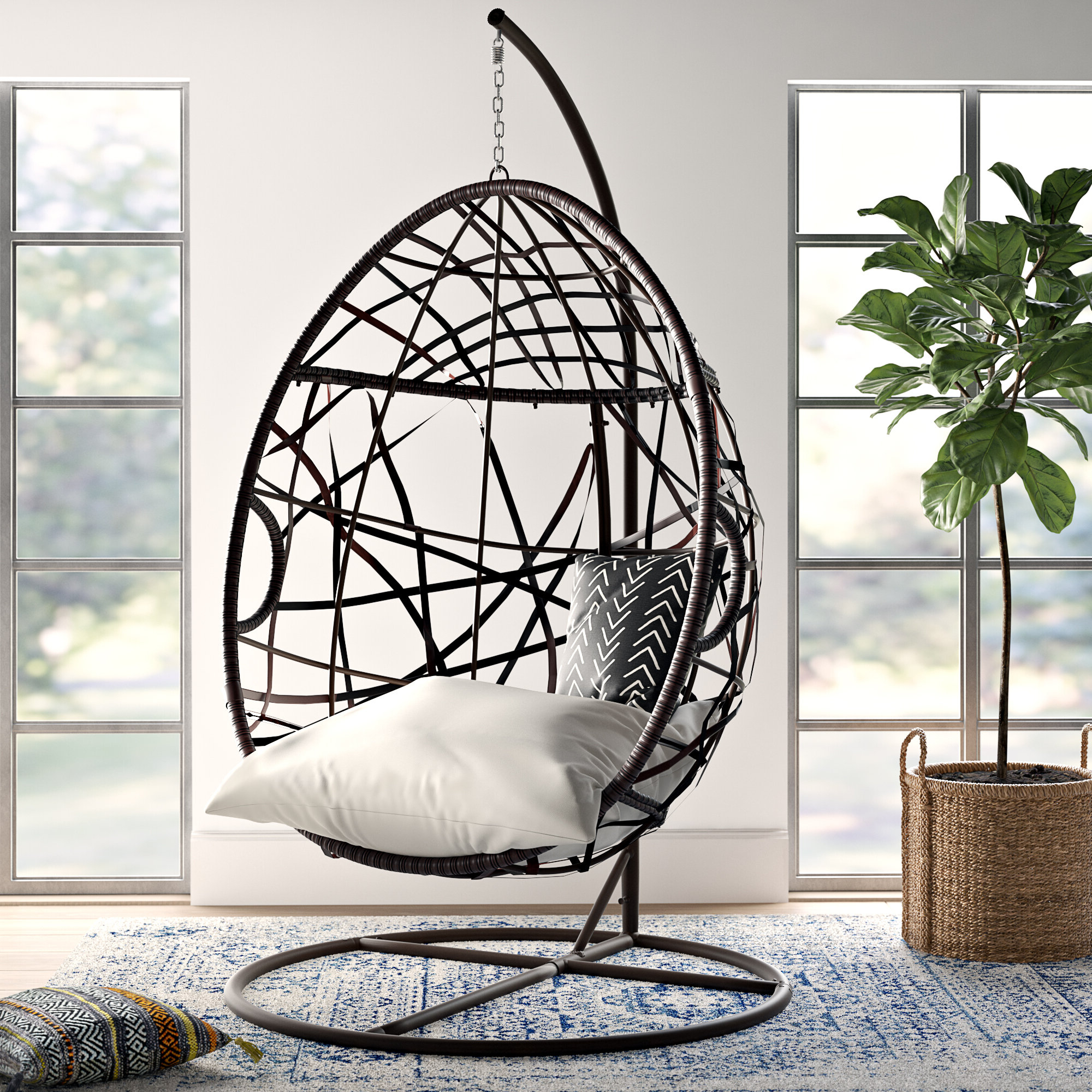 2020 Mistana Anner Tear Drop Swing Chair With Stand & Reviews In Outdoor Wicker Plastic Tear Porch Swings With Stand (View 11 of 30)