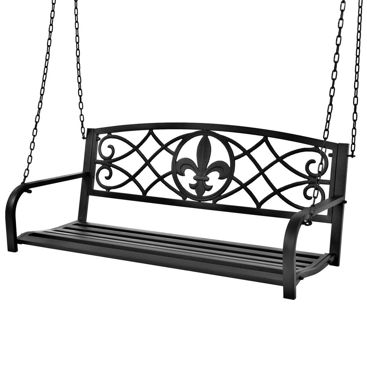 2020 Outdoor Metal Hanging 2 Person Swing Bench W/ Fleur De Lis With Vineyard 2 Person Black Recycled Plastic Outdoor Swings (View 2 of 30)